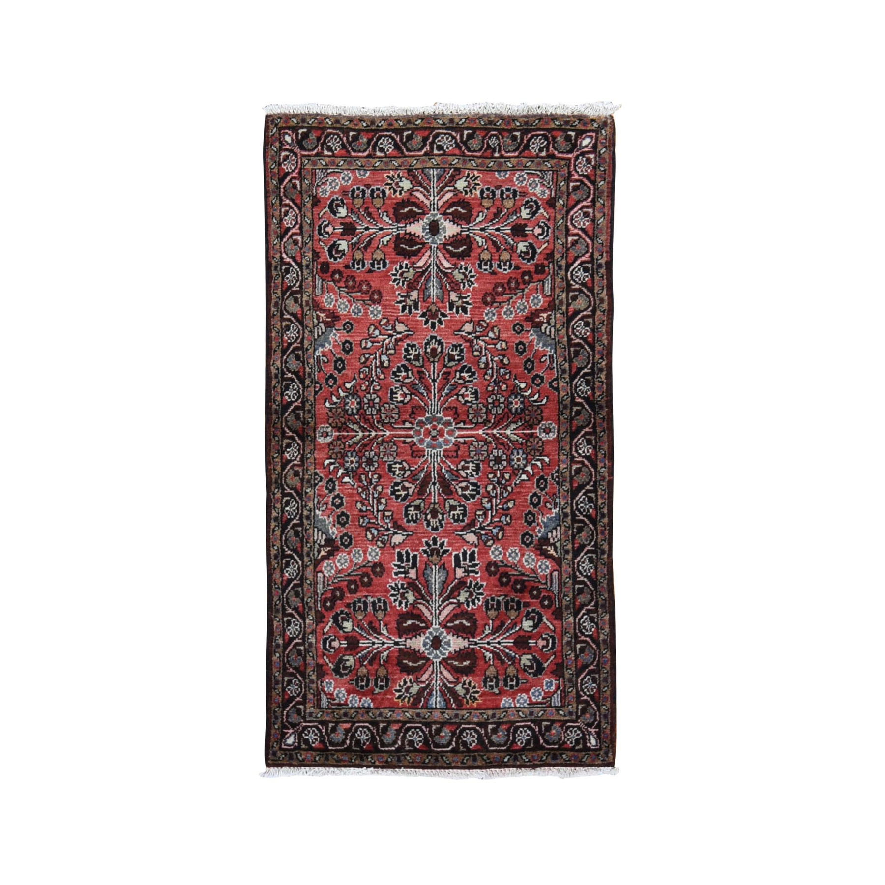 "2'10""x5'3"" Red New Persian Lilahan Pure Wool Hand Knotted Oriental Rug"