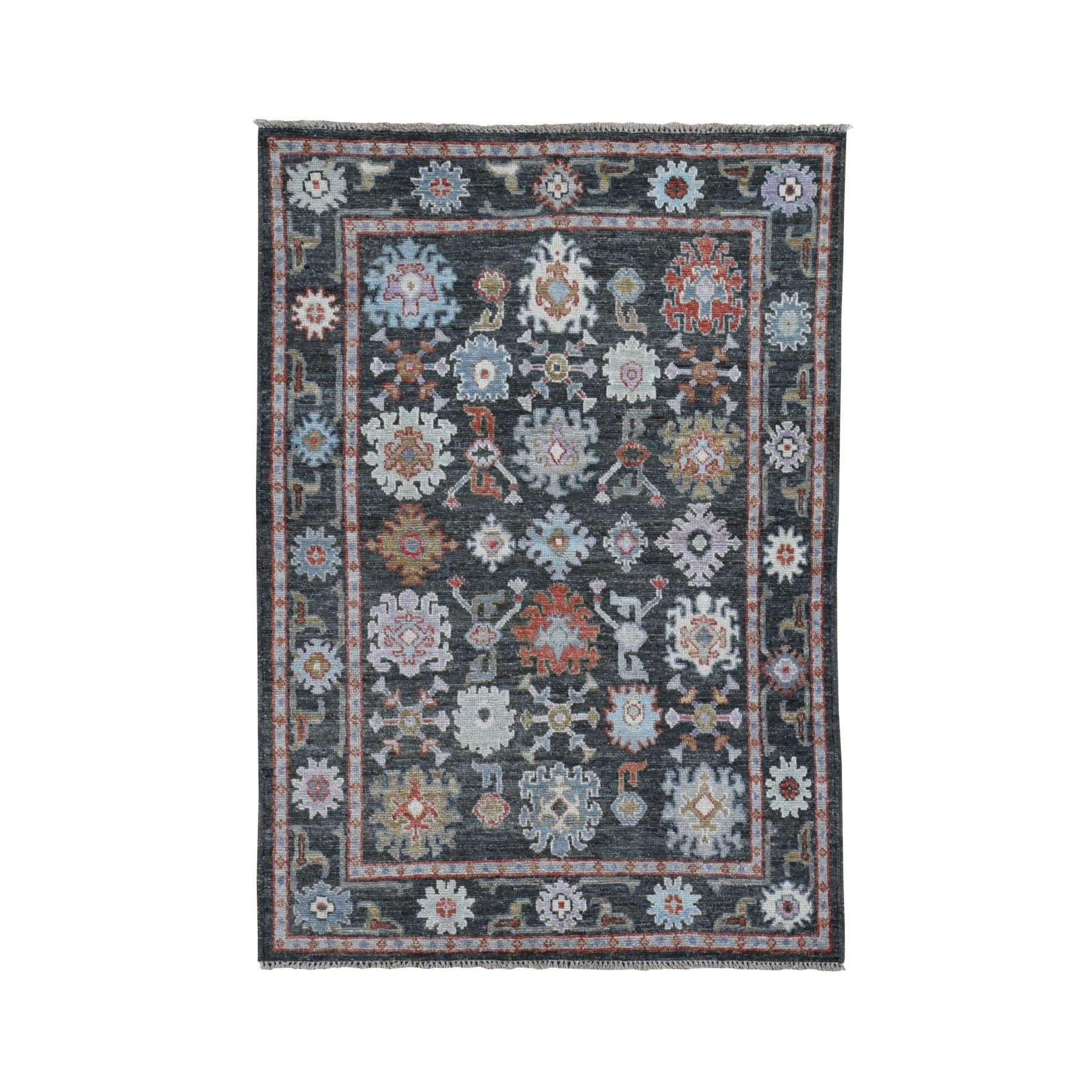 "4'x5'7"" Charcoal Black Angora Oushak With Soft Velvety Wool Hand Knotted Oriental Rug"