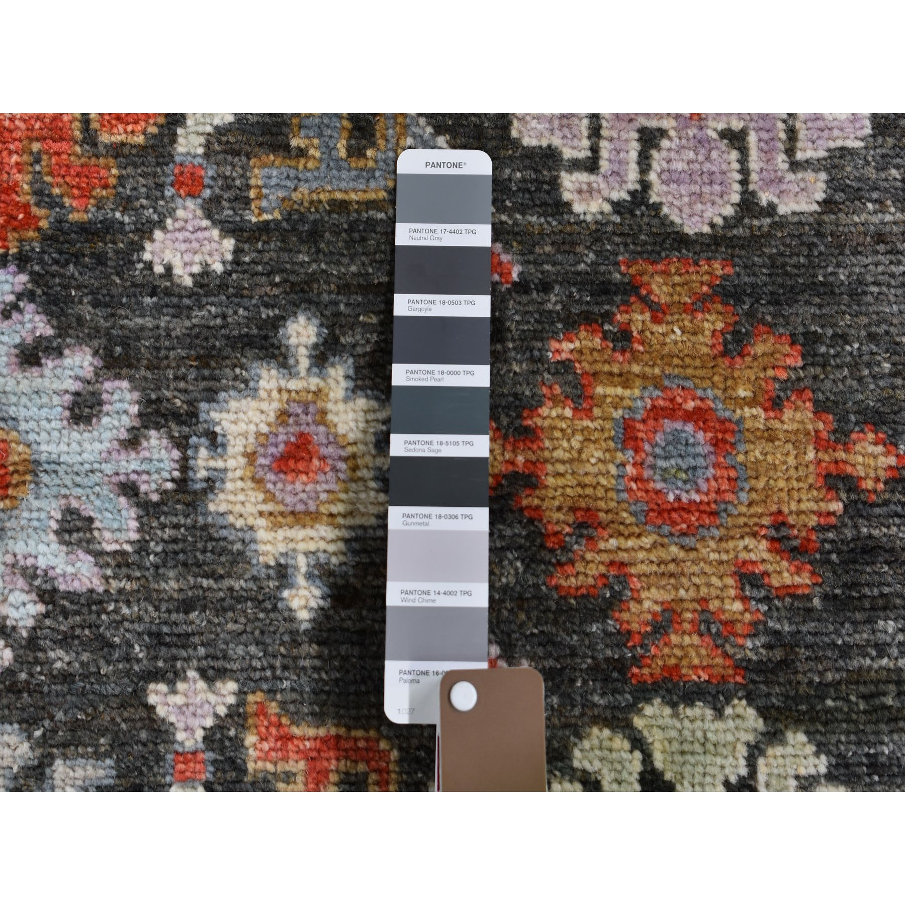 4-x5-7  Charcoal Black Angora Oushak With Soft Velvety Wool Hand Knotted Oriental Rug