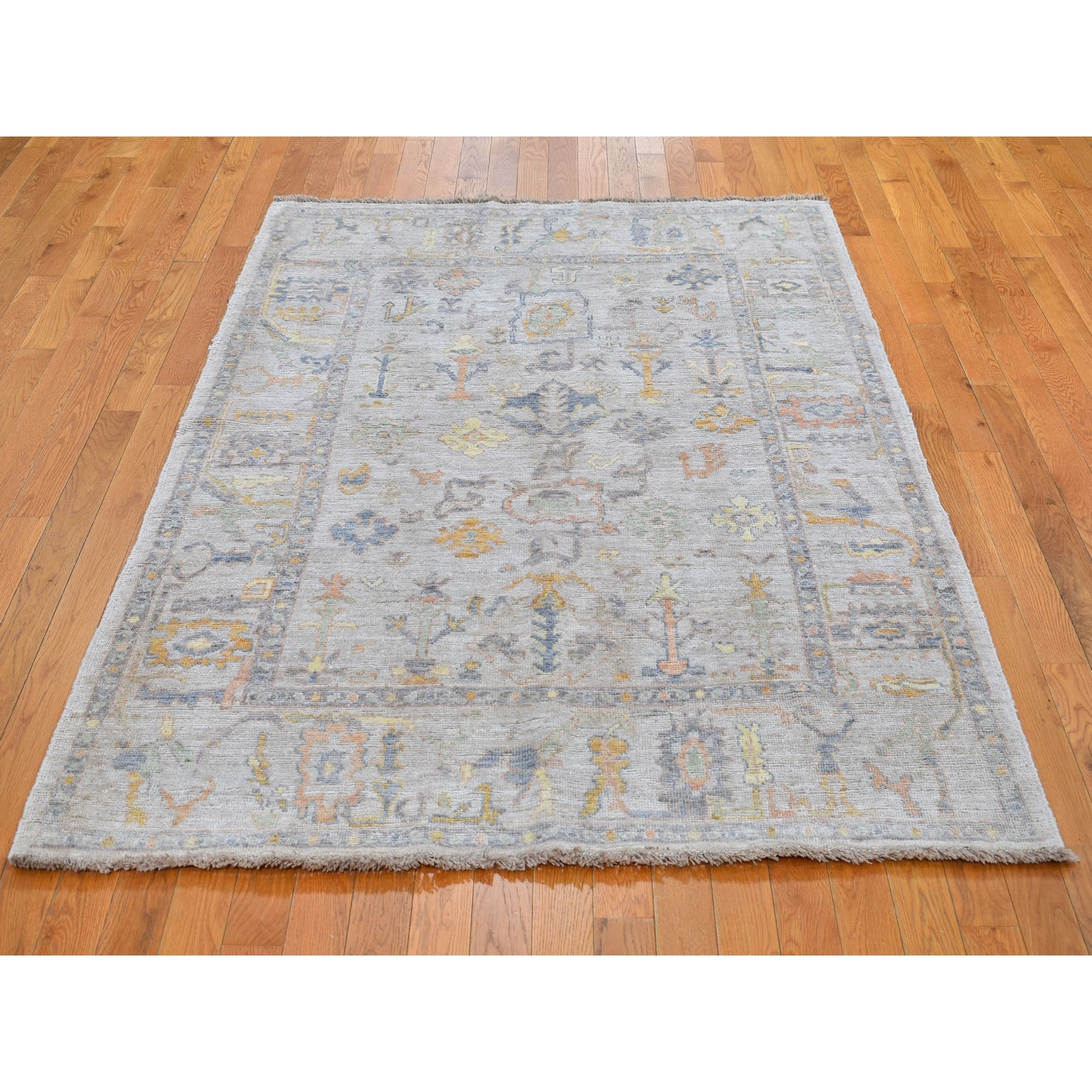 "4'10""x6'9"" Ivory Angora Oushak With Soft Velvety Wool Hand Knotted Oriental Rug"
