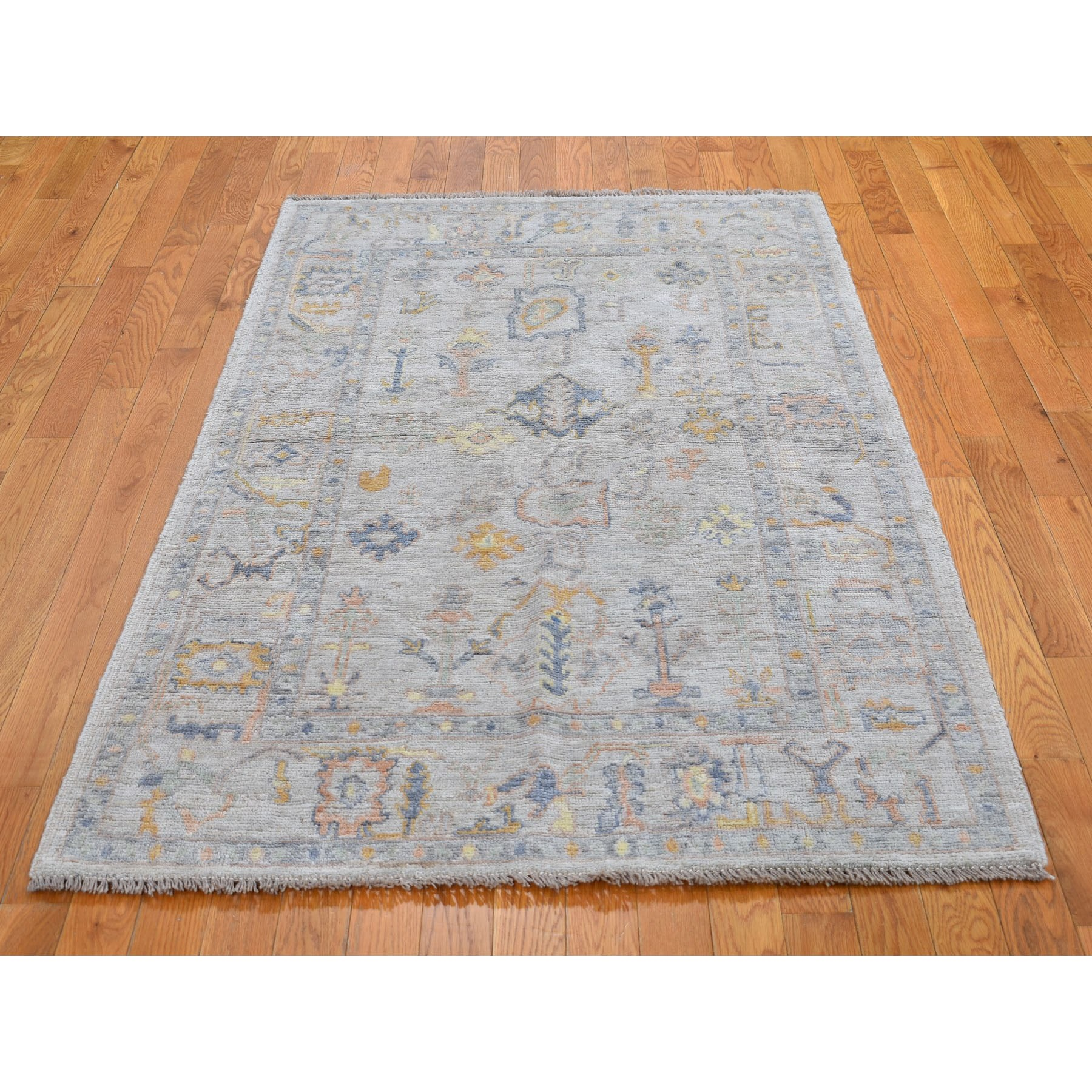 """4'x6'2"""" Ivory Angora Oushak With Soft Velvety Wool Hand Knotted Oriental Rug"""