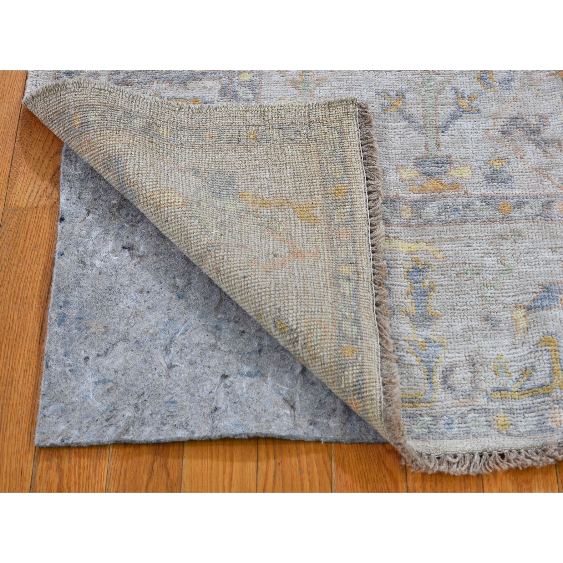 """4'2""""x6'  Ivory Angora Oushak With Soft Velvety Wool Hand Knotted Oriental Rug"""