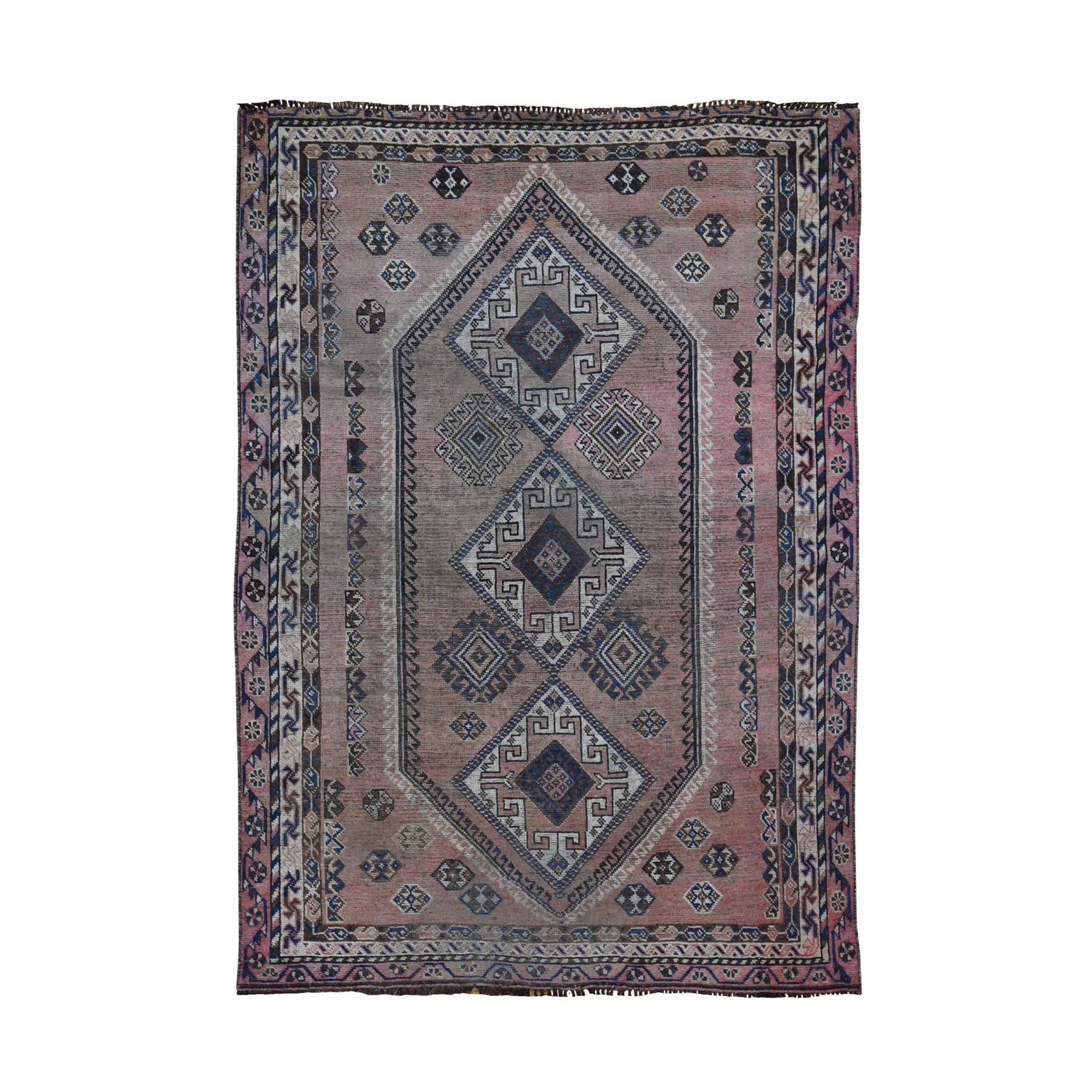 "5'x7'7"" Washed Out Shiraz With Faded Pink Hand Knotted Oriental Rug"
