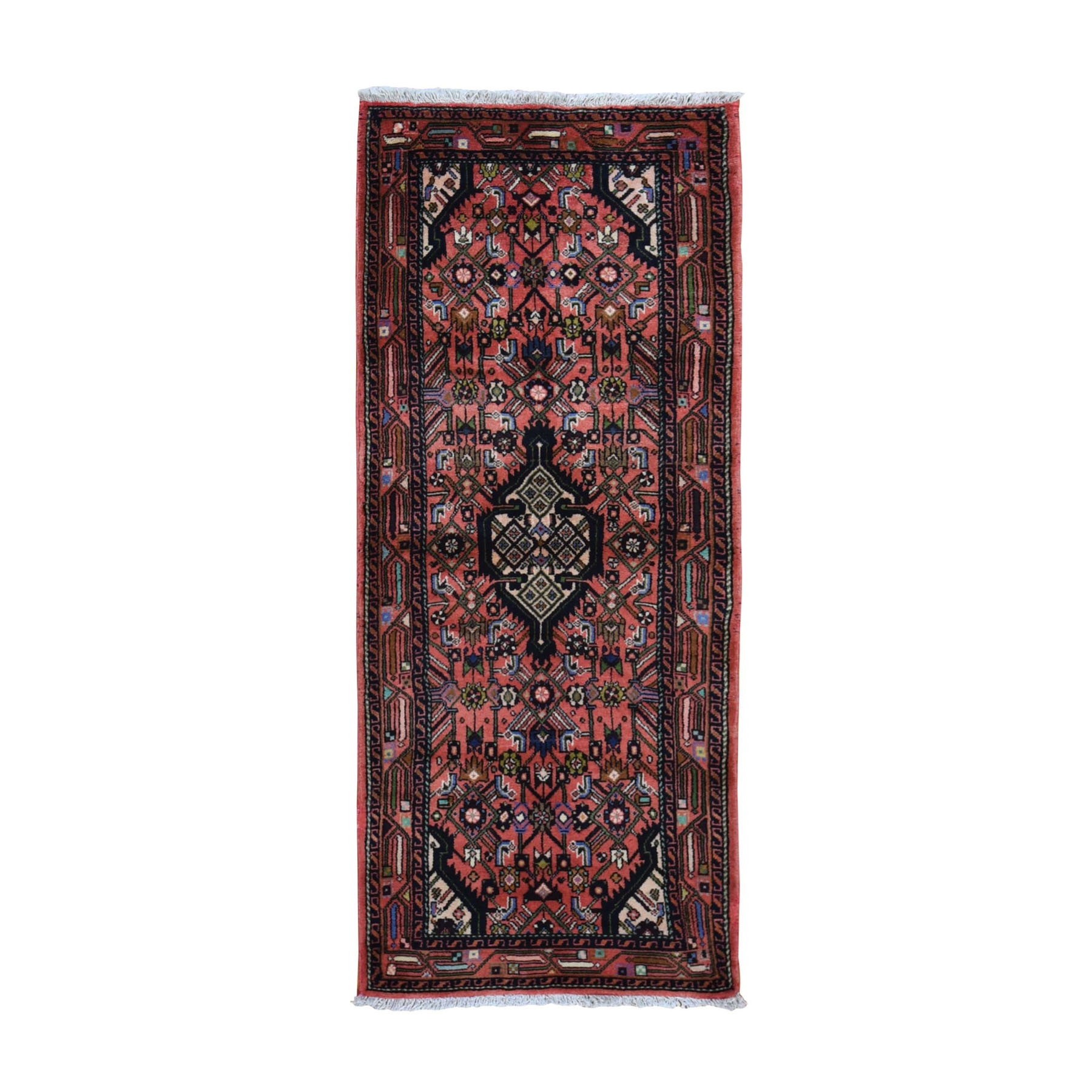 "2'7""x6'2"" Red New Persian Hamadan Pure Wool Hand Knotted Short Runner Tribal Oriental Rug"
