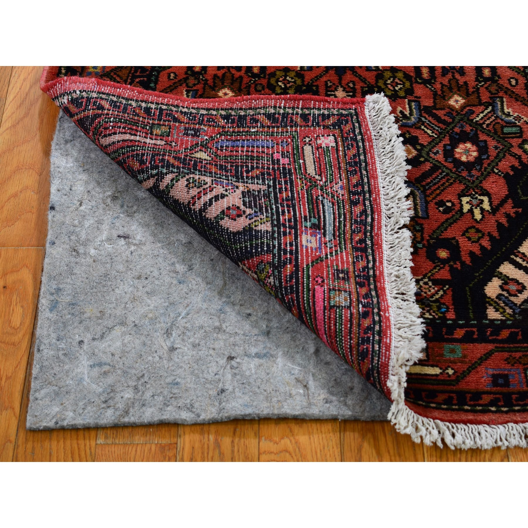 """2'7""""x6'2"""" Red New Persian Hamadan Pure Wool Hand Knotted Short Runner Tribal Oriental Rug"""