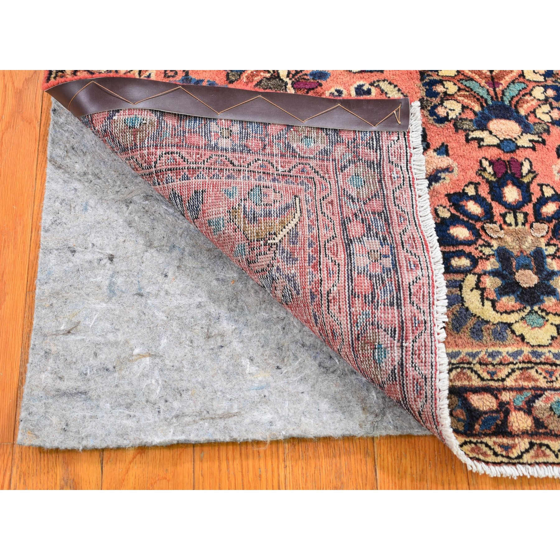 """3'2""""x4'9"""" Salmon New Persian Sarouk  Pure Wool Hand Knotted Oriental Rug"""