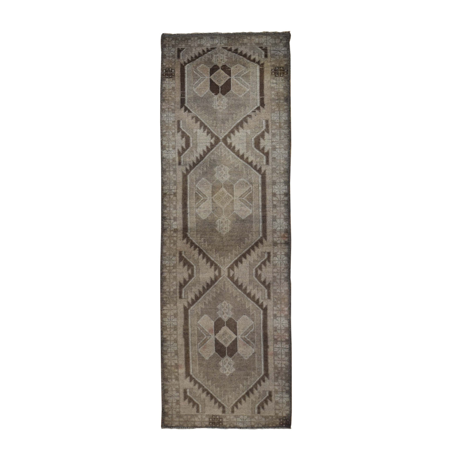 "2'5""X8' Washed Out Afghan Baluch With Natural Colors Pure Wool Runner Hand Knotted Oriental Rug moad9b08"