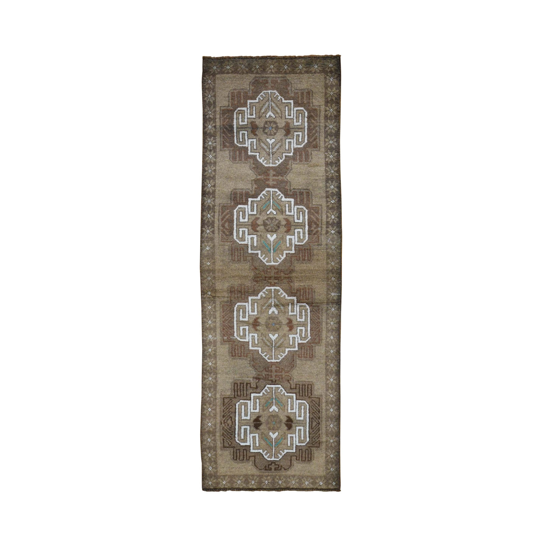 "2'3""x7'6"" Washed Out Afghan Baluch With Natural Colors Pure Wool Runner Hand Knotted Oriental Rug"