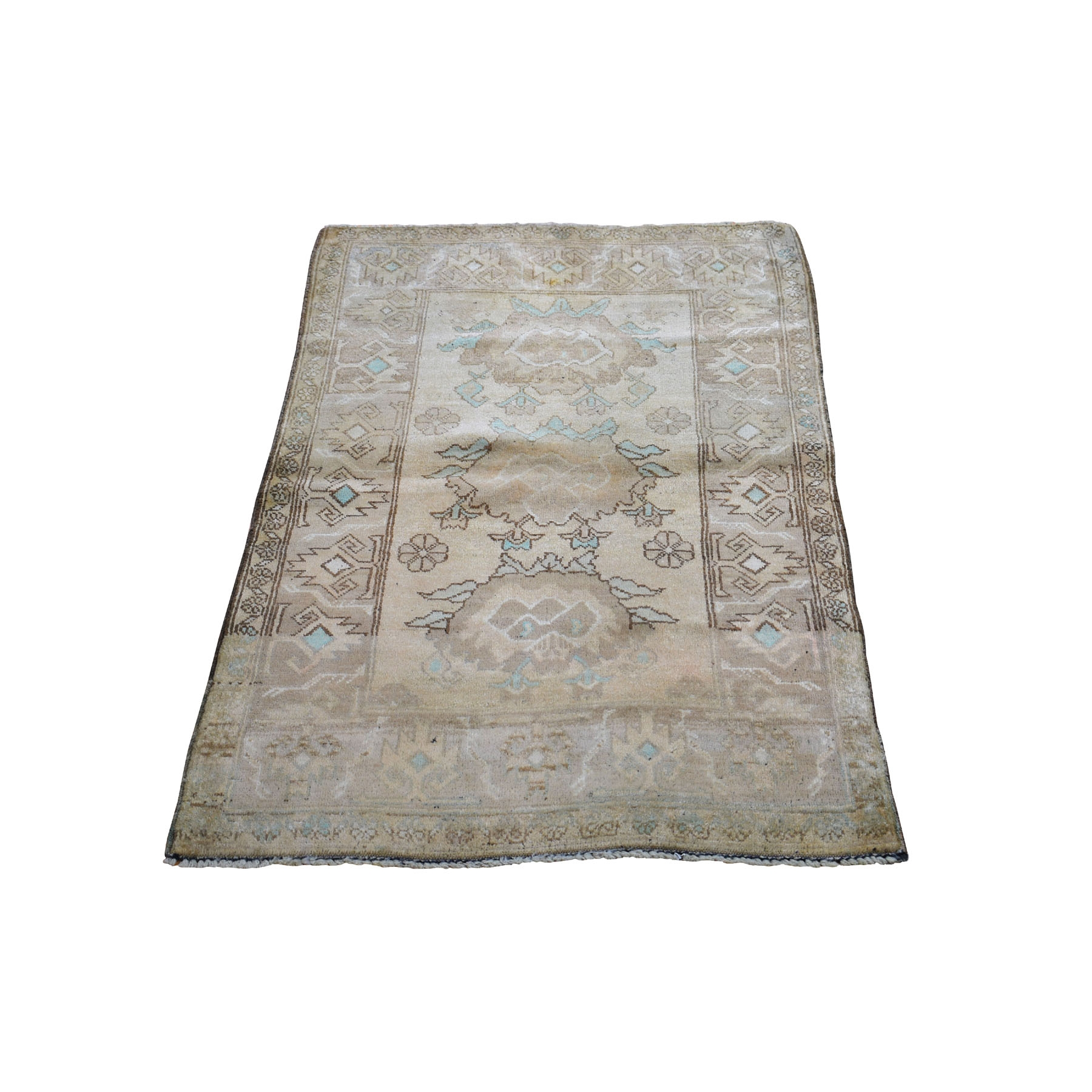 """2'6""""X4'1"""" Washed Out Afghan Baluch Pure Wool Hand Knotted Oriental Rug moad9bab"""
