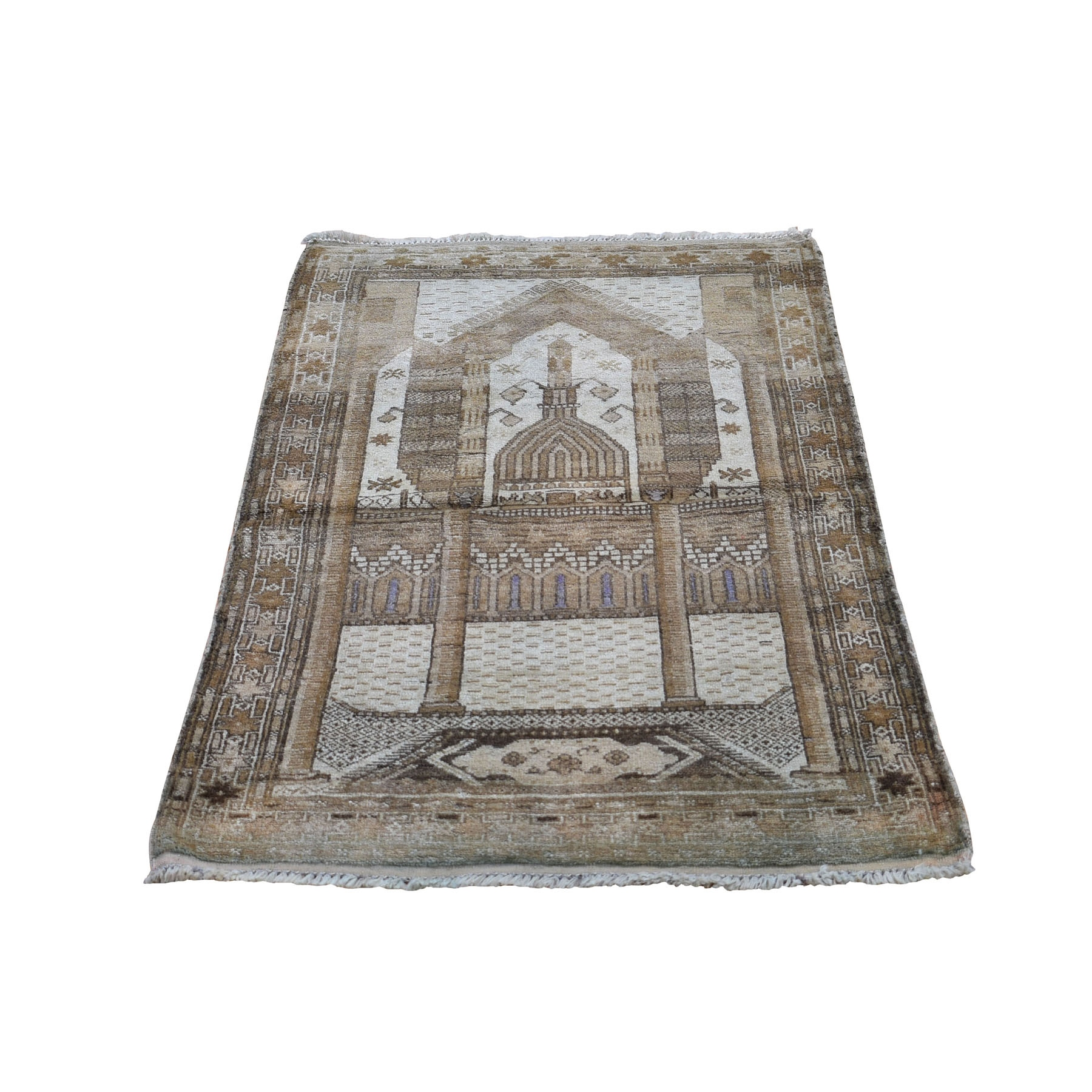 """2'8""""X4'1"""" Washed Out Afghan Baluch Pure Wool Hand Knotted Oriental Rug moad9bac"""