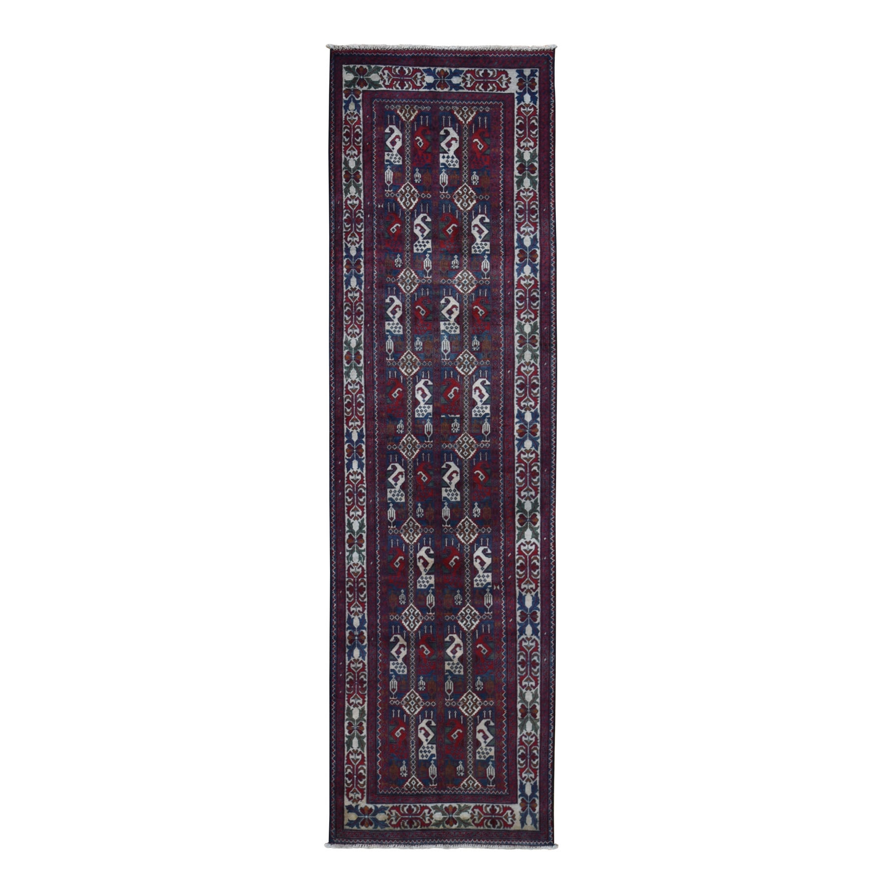 "2'6""x9'3"" Red Afghan Khamyab Runner  Pure Wool Hand Knotted Oriental Rug"