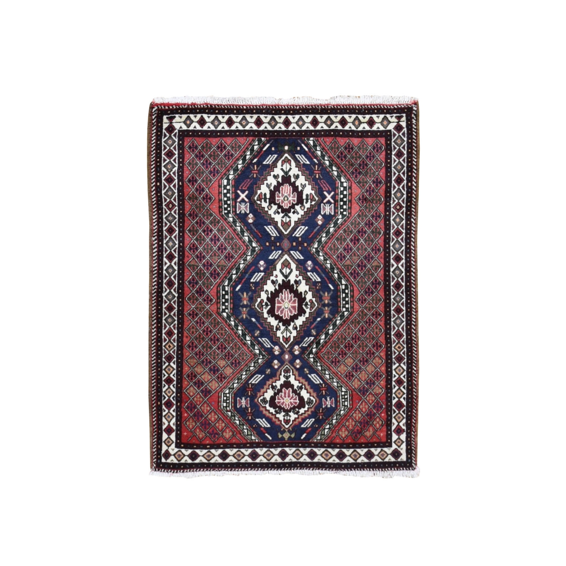 """3'X4'1"""" Red New Persian Shiraz Geometric Design Pure Wool Hand Knotted Oriental Rug moad9bae"""