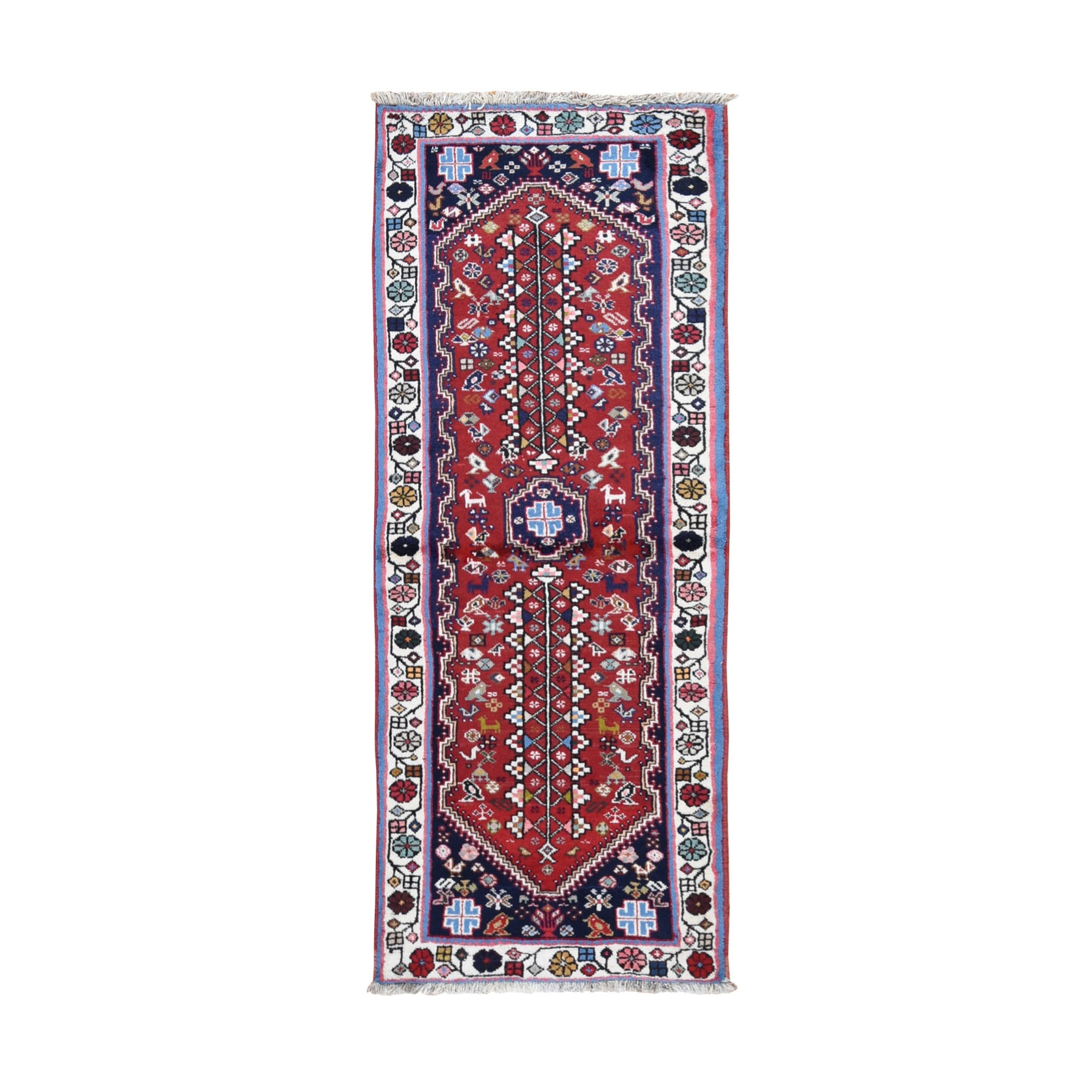 "2'6""x6'4"" Red New Persian Shiraz Pure Wool Runner Hand Knotted Oriental Rug"