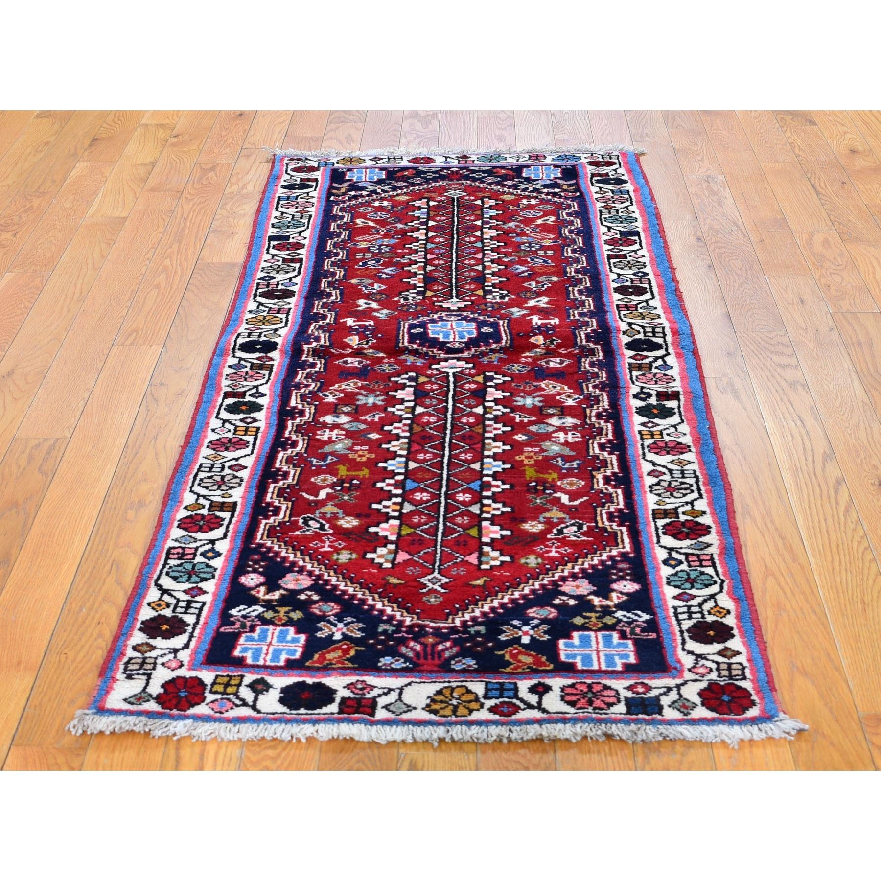 """2'6""""x6'4"""" Red New Persian Shiraz Pure Wool Runner Hand Knotted Oriental Rug"""
