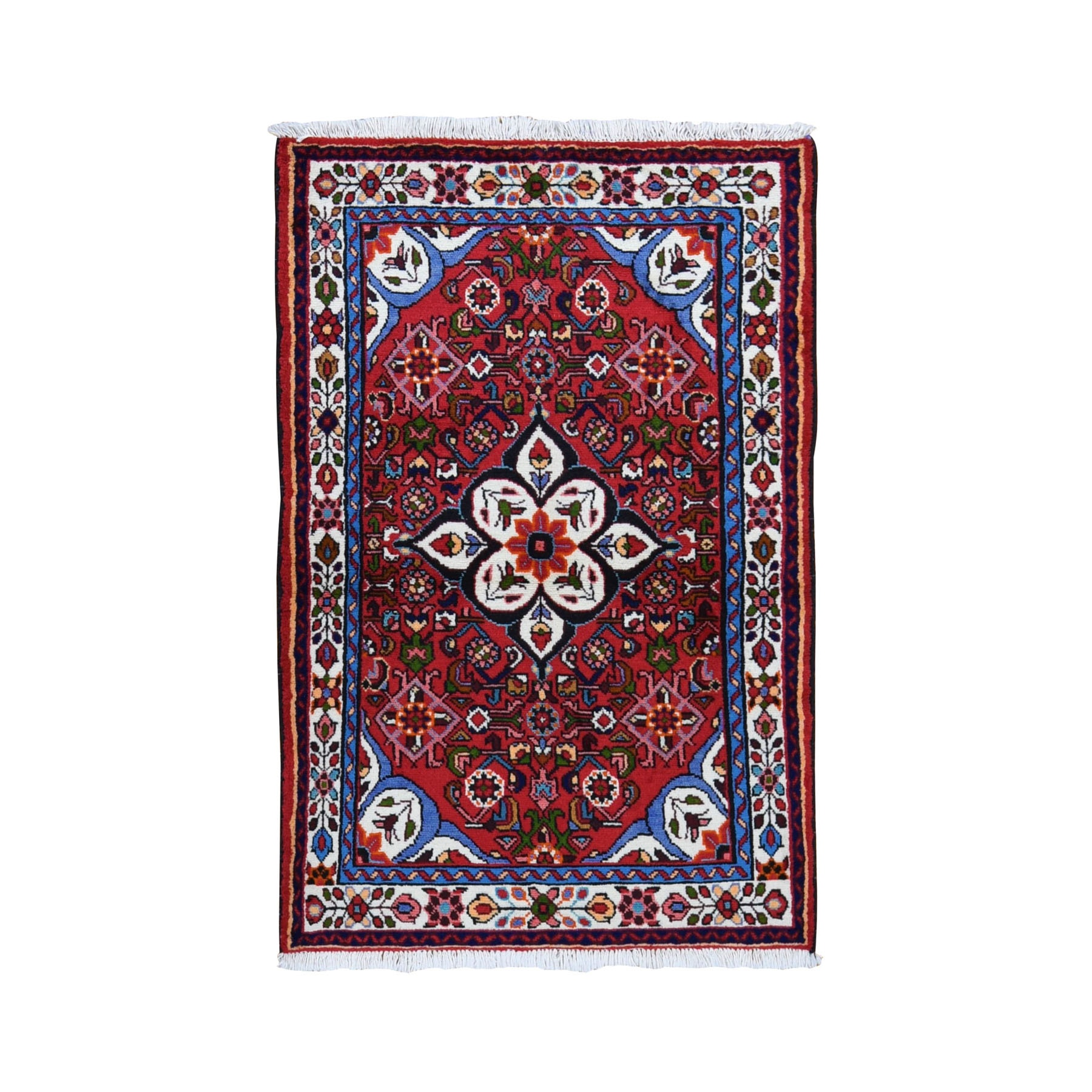 "3'6""x5'2"" Red New Persian Hamadan Pure Wool Hand Knotted Oriental Rug"