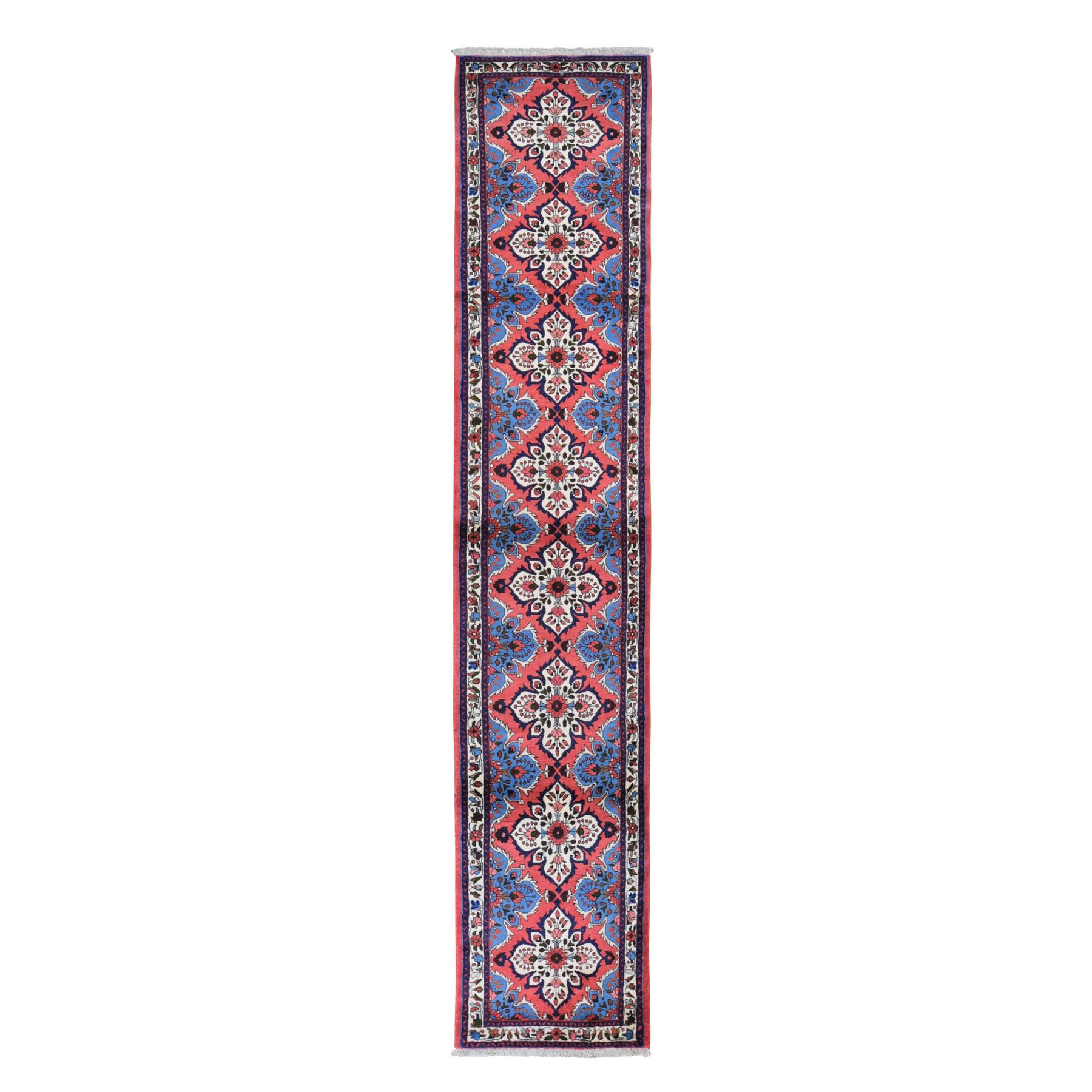 "2'9""x14'1"" Pink New Persian Hamadan Pure Wool Hand Knotted Runner Oriental Rug"