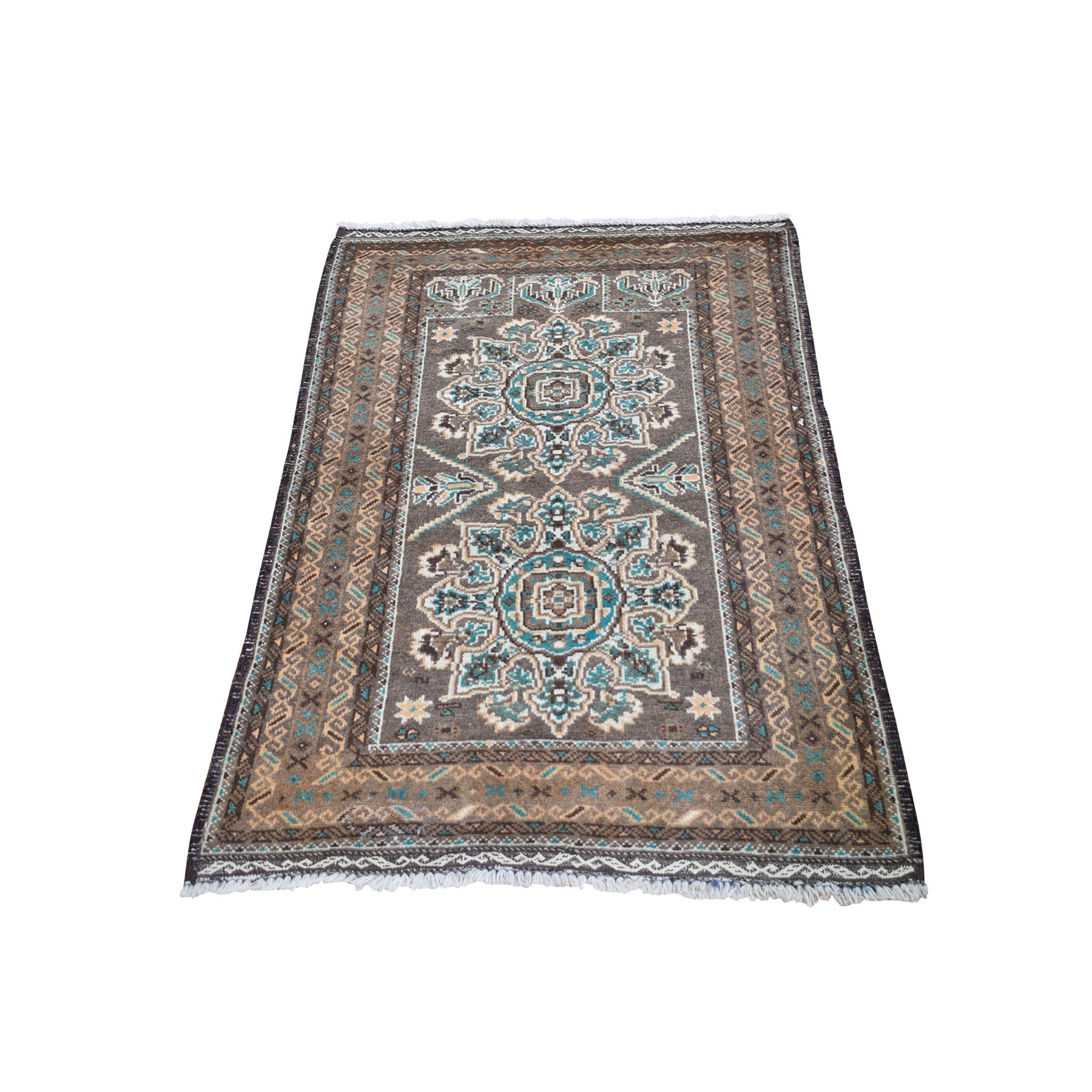 "2'5""X4' Washed Out Afghan Baluch Pure Wool Hand Knotted Oriental Rug moad9bb0"