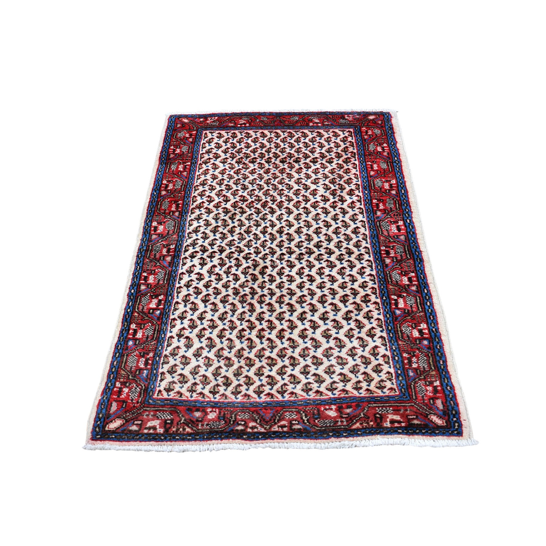 "2'1""x4'2"" Ivory Vinatge Pure Wool Sarouk Mir With Boteh Design Hand Knotted Oriental Rug"