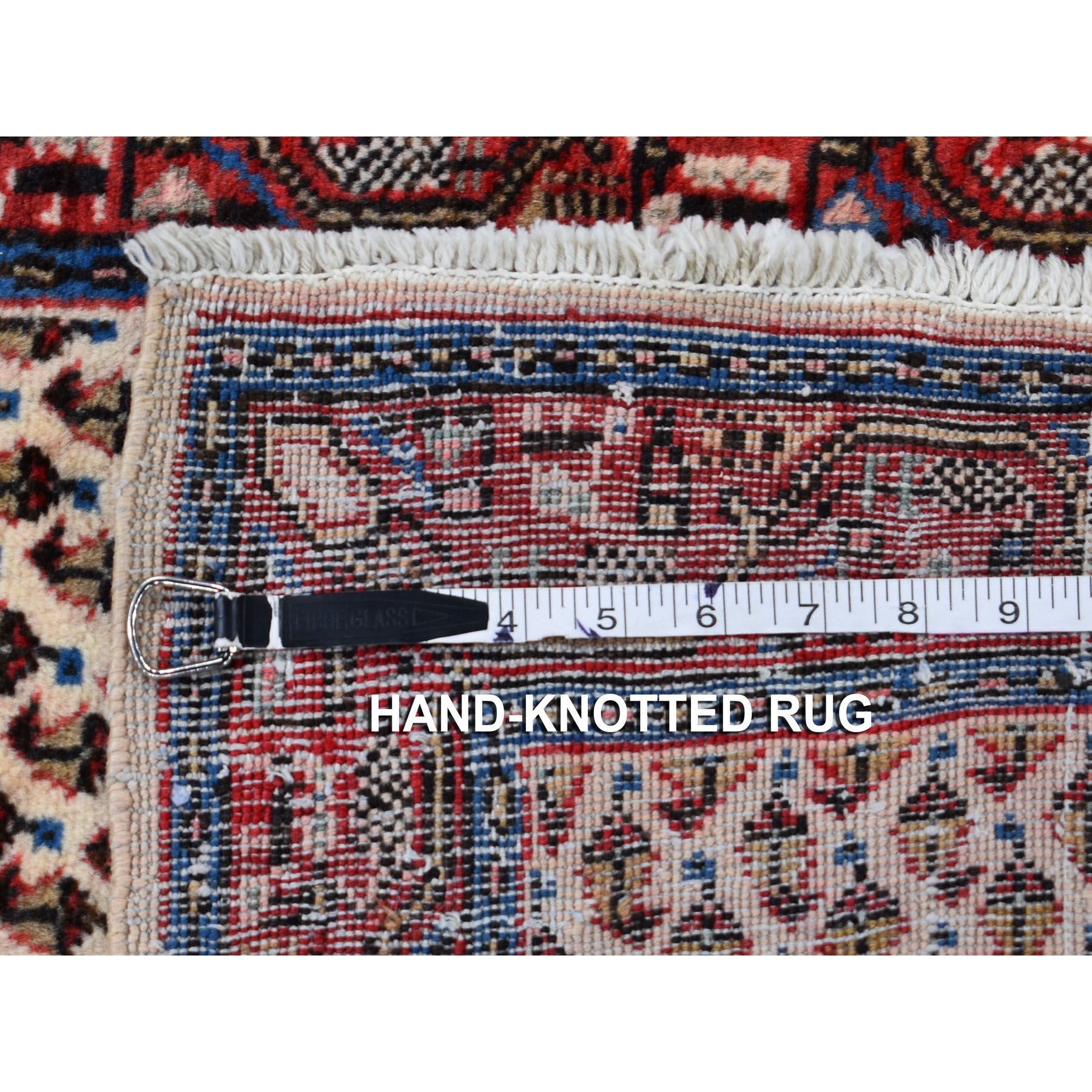 """2'1""""x4'2"""" Ivory Vinatge Pure Wool Sarouk Mir With Boteh Design Hand Knotted Oriental Rug"""
