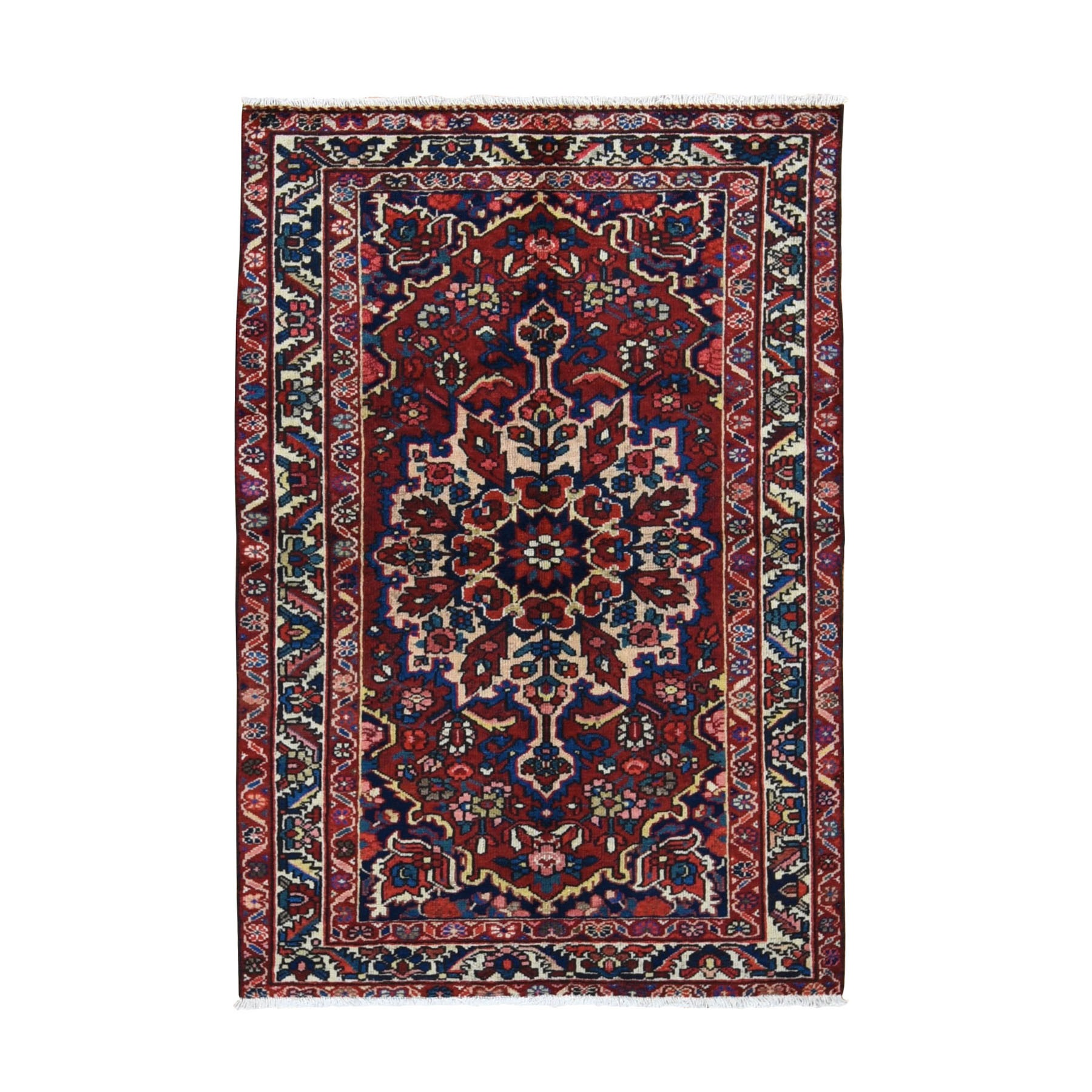 "4'3""x6'8"" Red Vintage Persian Bakhtiari Even Wear Pure Wool Hand Knotted Oriental Rug"