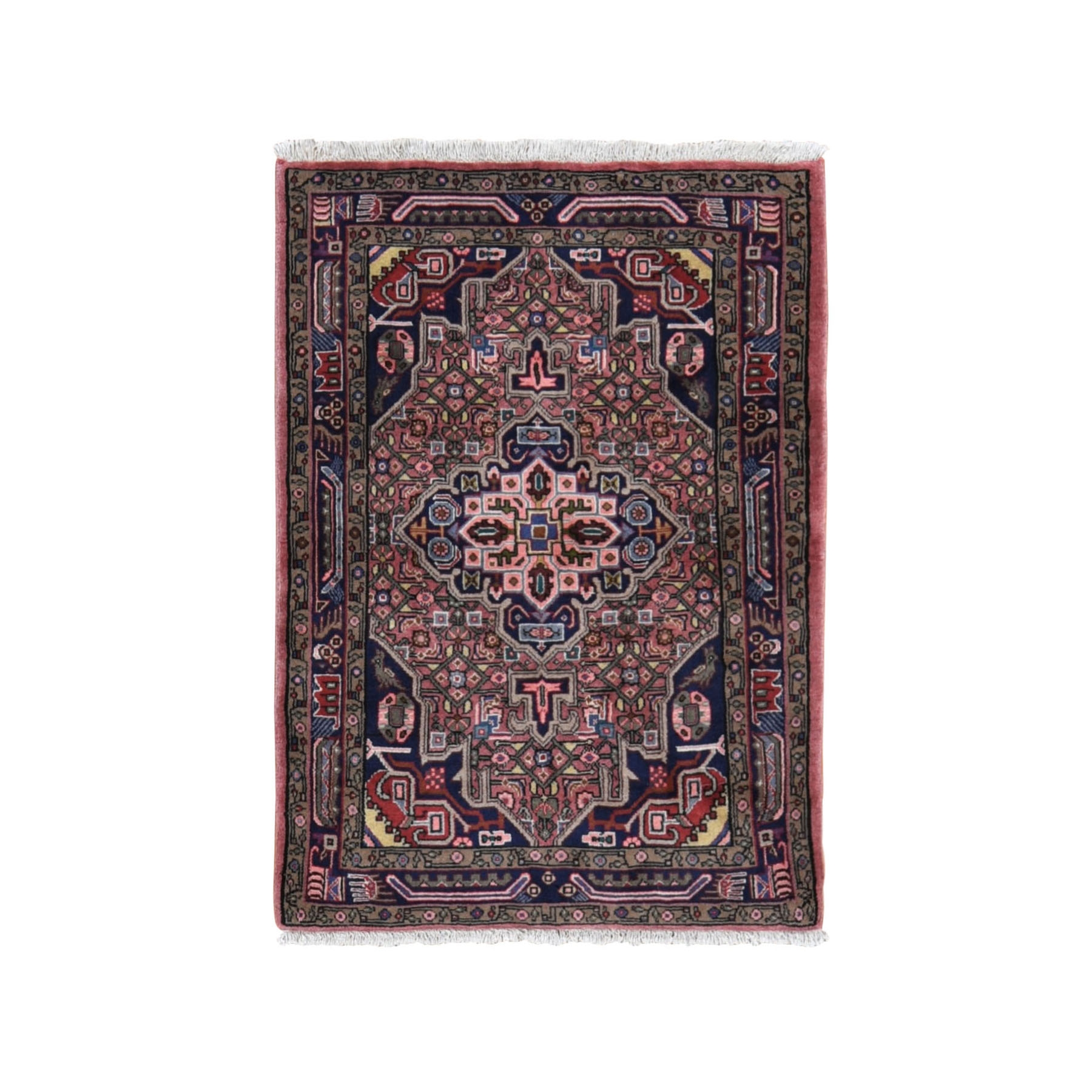 "3'4""x4'5"" Pink New Persian Hamadan Full Pile Pure Wool Hand Knotted Oriental Rug"
