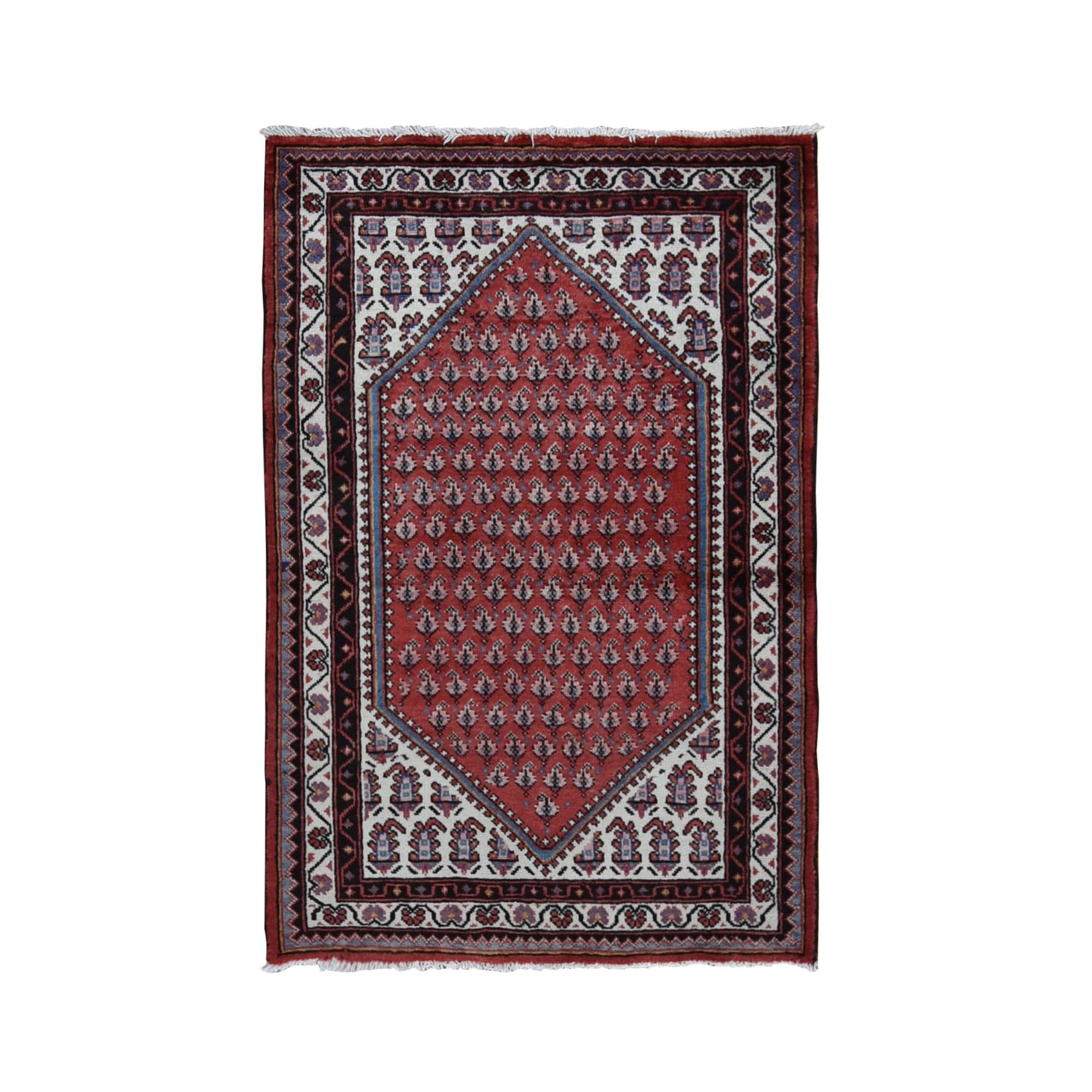 "3'5""x5'2""  Red Vinatge Pure Wool Sarouk Mir With Boteh Design Hand Knotted Oriental Rug"
