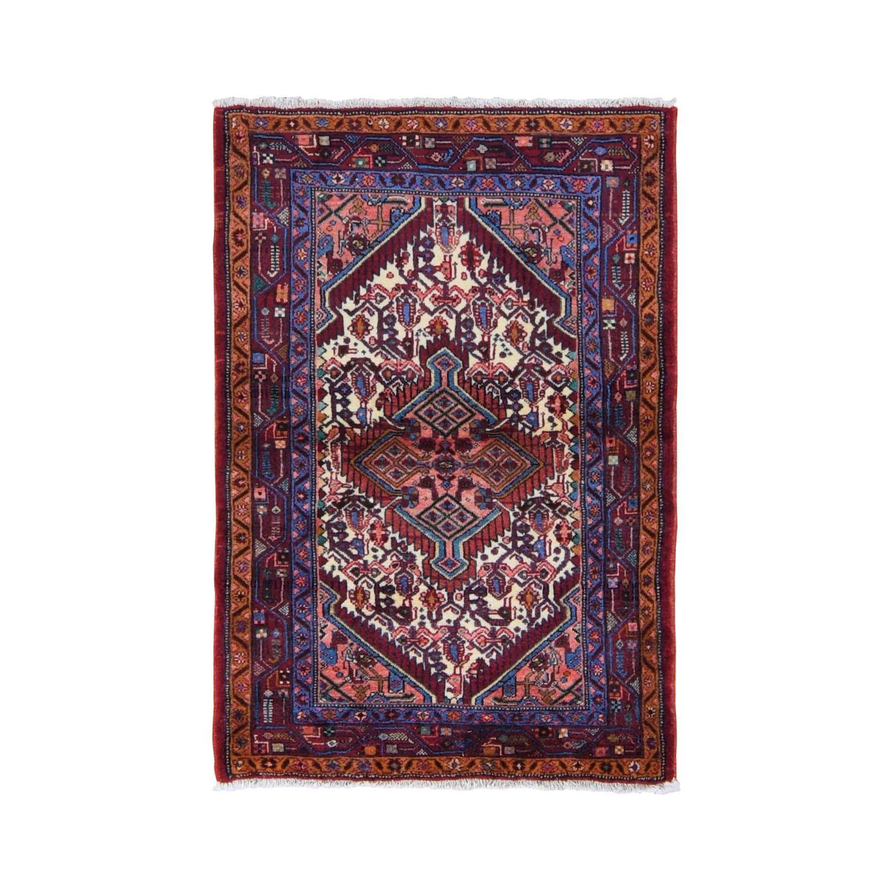 "3'3""x4'10"" Red New Persian Hamadan Full Pile Pure Wool Hand Knotted Oriental Rug"