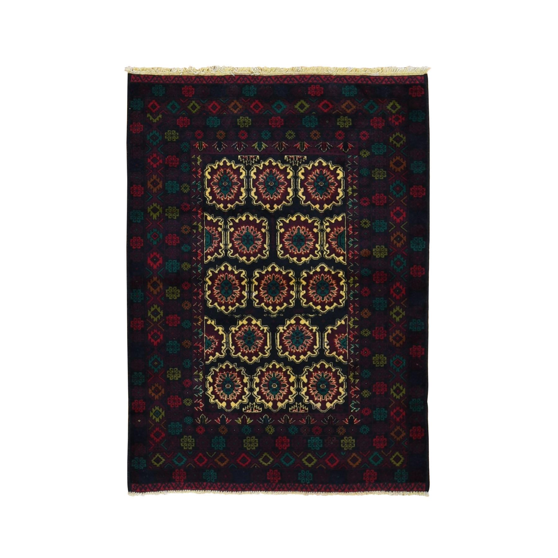 """4'x5'6"""" Yellow New Afghan Baluch Pure Wool Hand Knotted Oriental Rug"""
