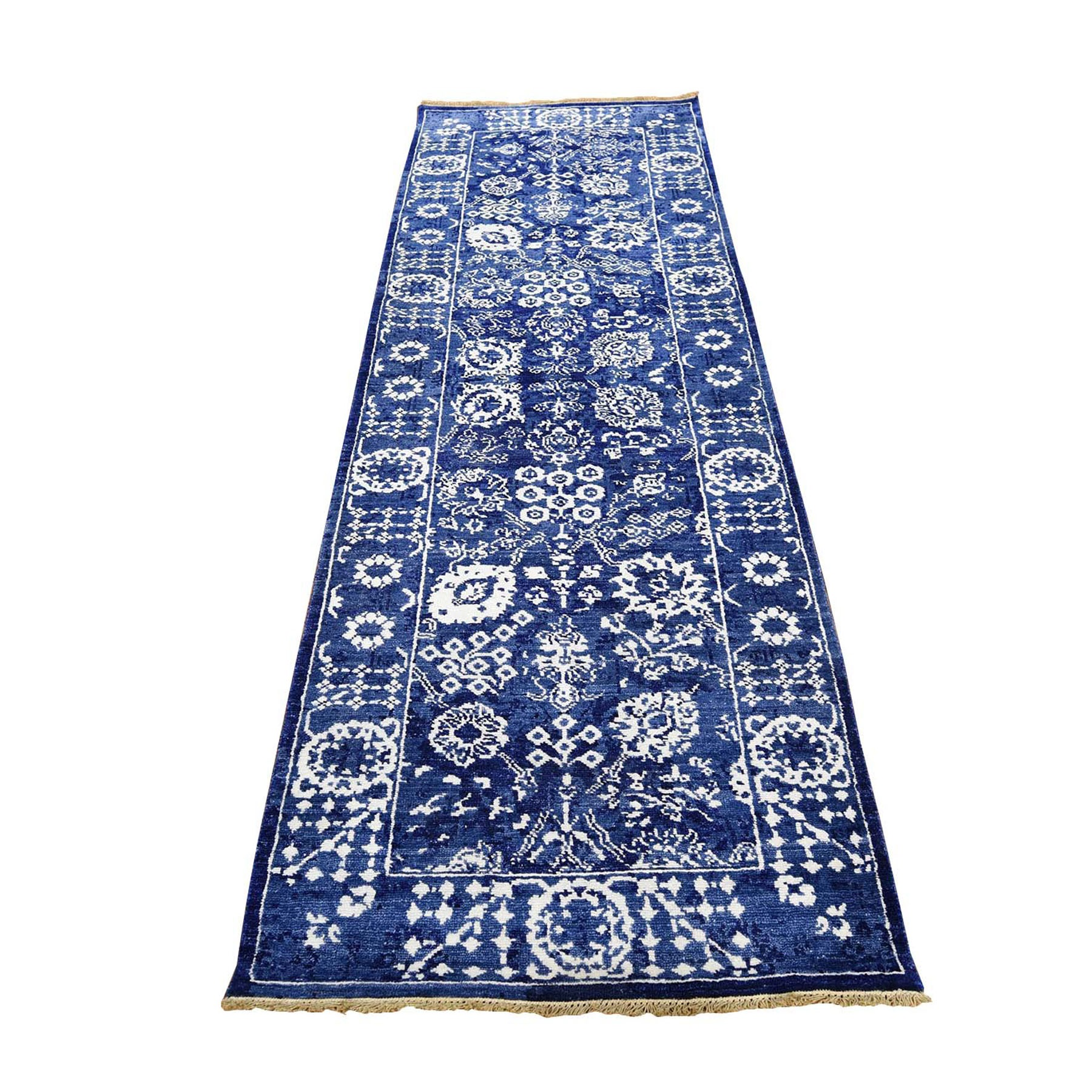 "2'8""x8'2"" Blue Wool And Silk Tone On Tone Tabriz Runner Hand Knotted Oriental Rug"