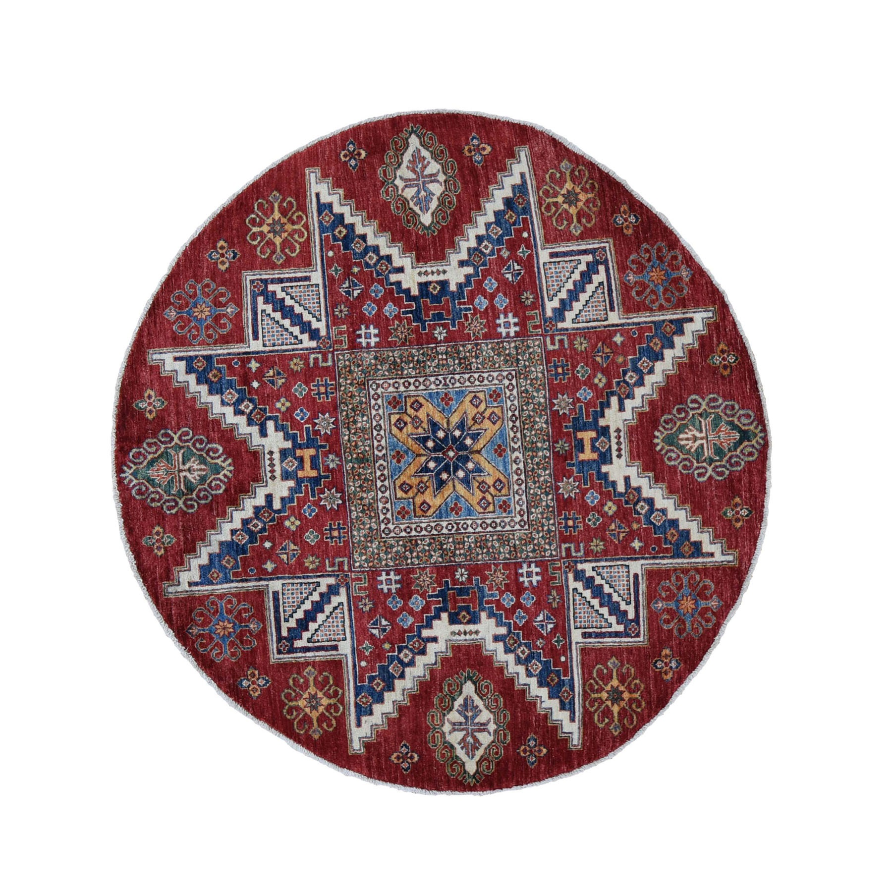 "5'5""x5'5"" Red Round Super Kazak Star Geometric Design Hand Knotted Pure Wool Oriental Rug"