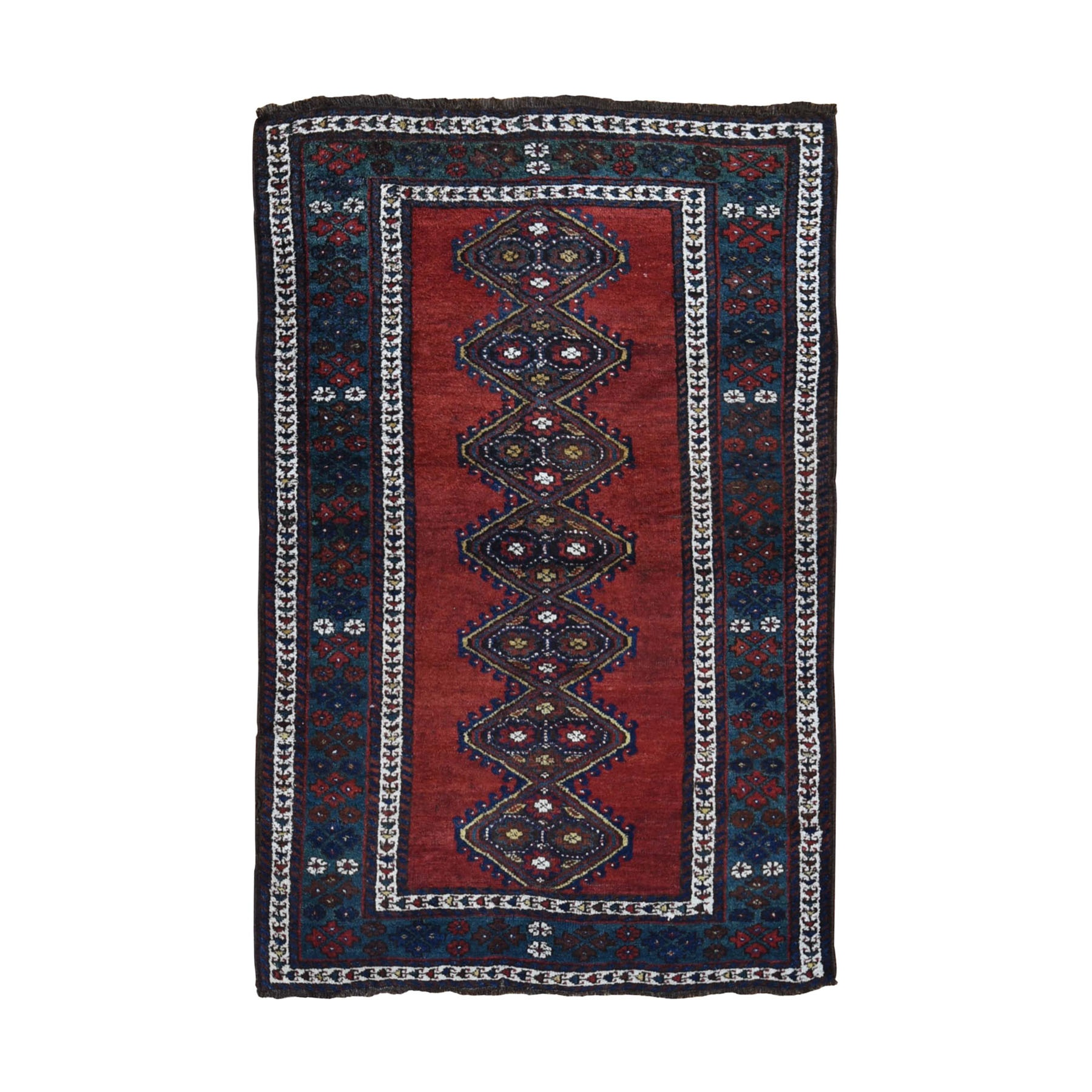 4-x6-3  Red Antique Caucasian Talesh Full Pile Hand Knotted Oriental Rug