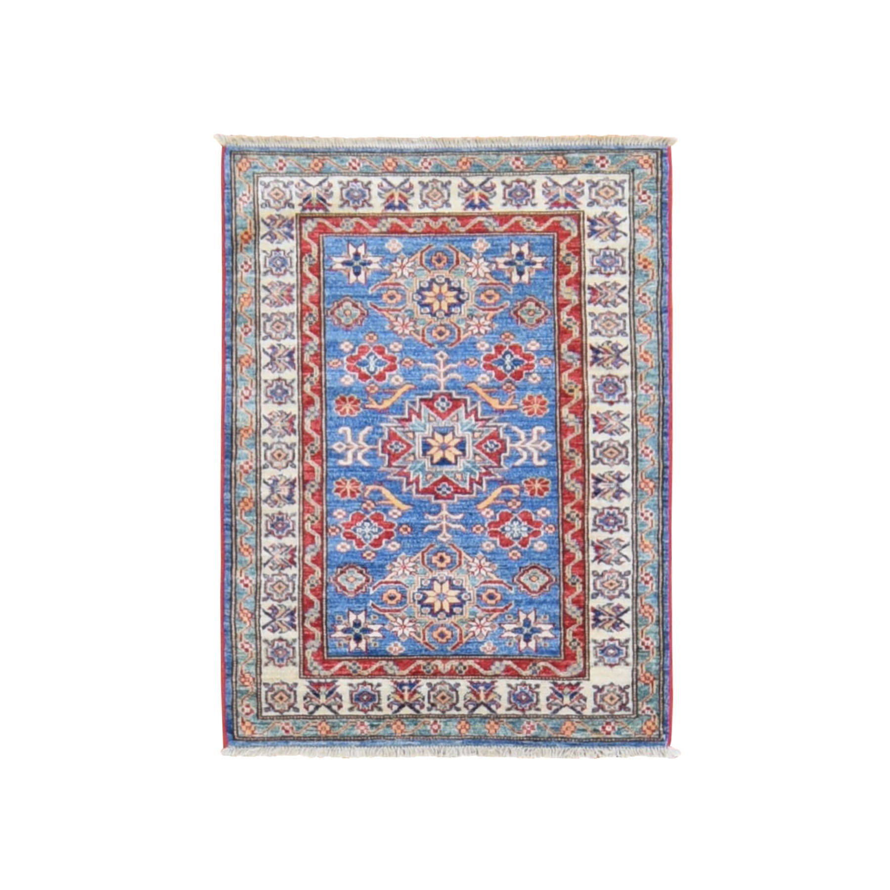 "2'9""x3'9"" Blue Super Kazak Tribal Design Hand Knotted Pure Wool Oriental Rug"