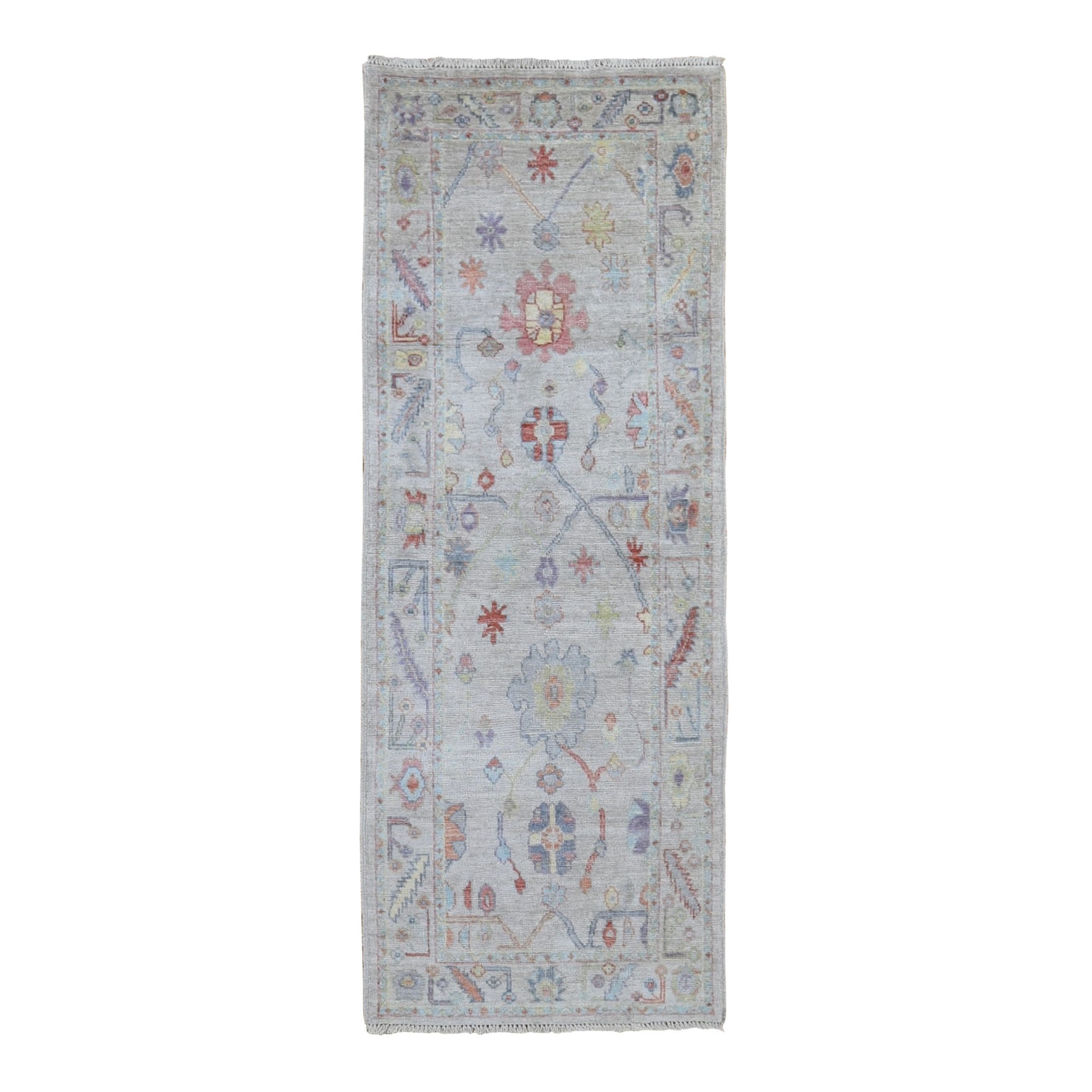 "2'10""x7'7"" Ivory Angora Oushak With Soft Velvety Wool Hand Knotted Runner Oriental Rug"