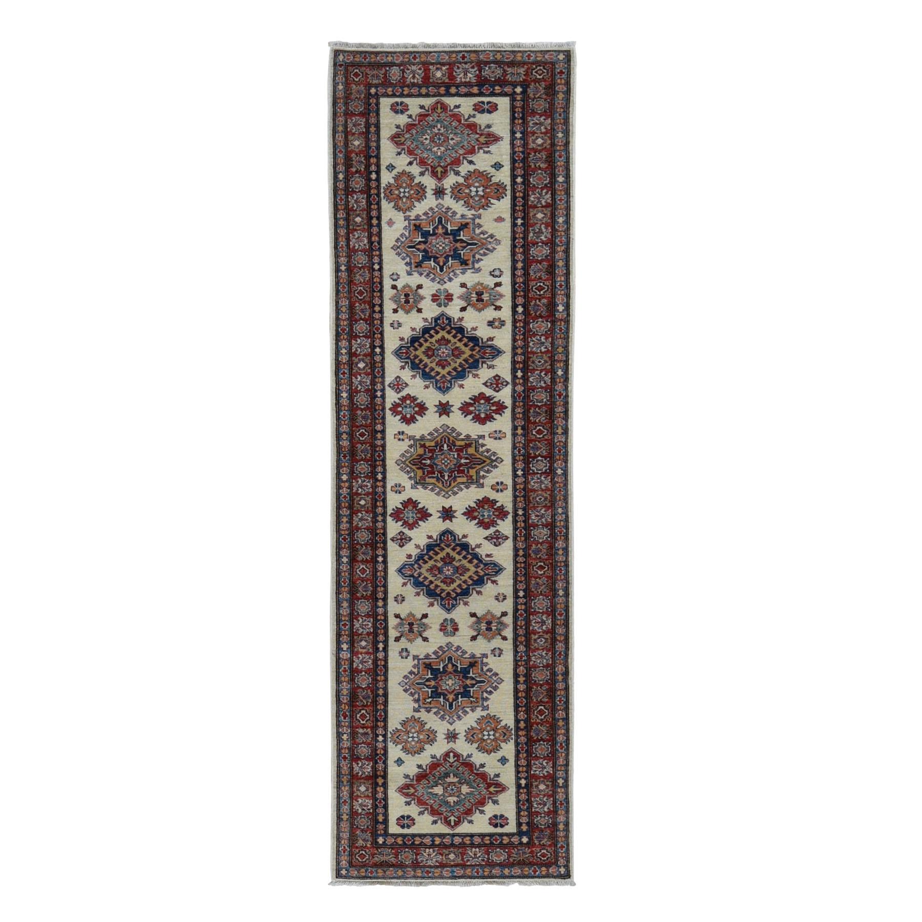 "2'2""x9'4"" Super Kazak Runner Pure Wool Hand Knotted Oriental Rug"