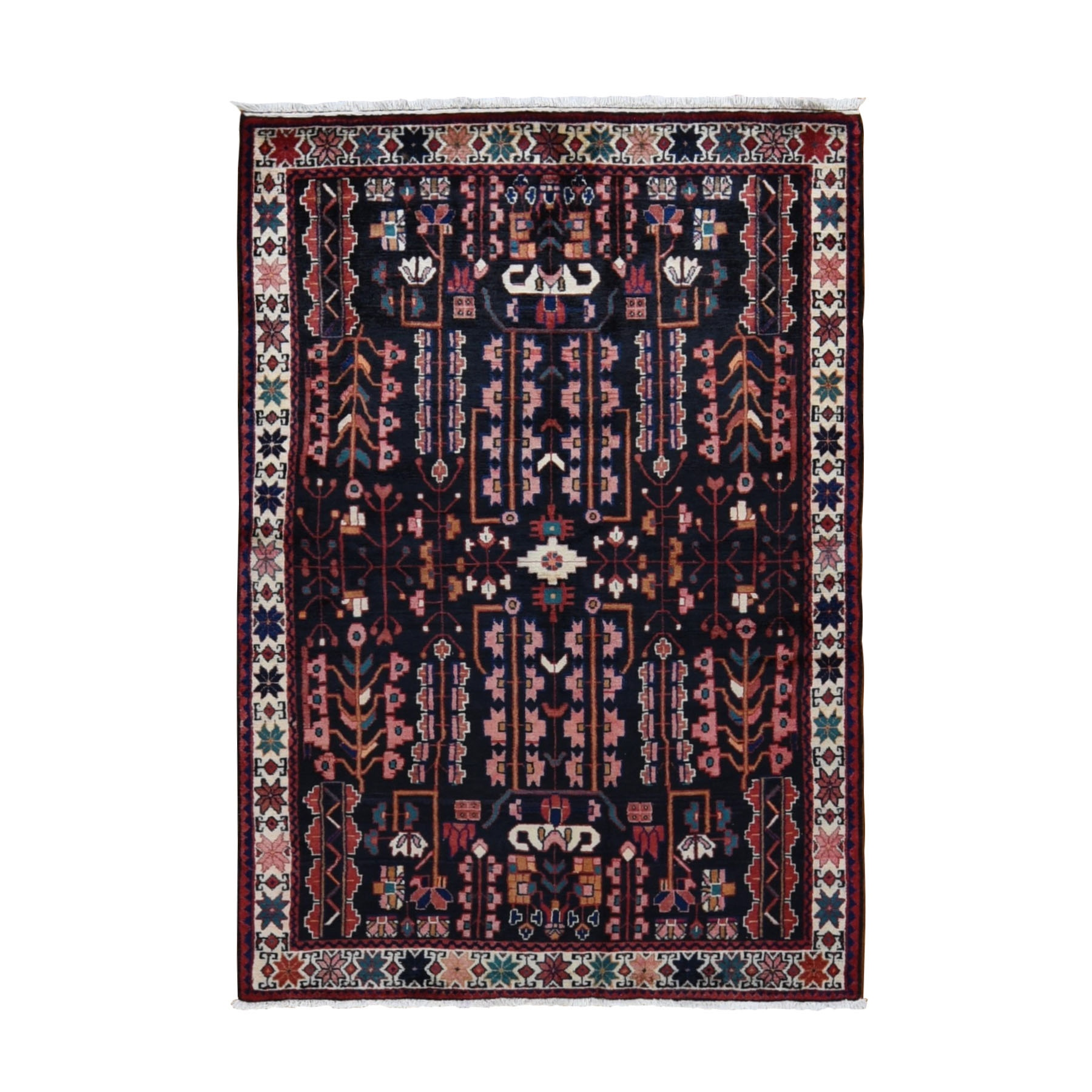 "4'5""x6'9"" Black New Persian Hamadan Pure Wool Hand Knotted Runner Oriental Rug"