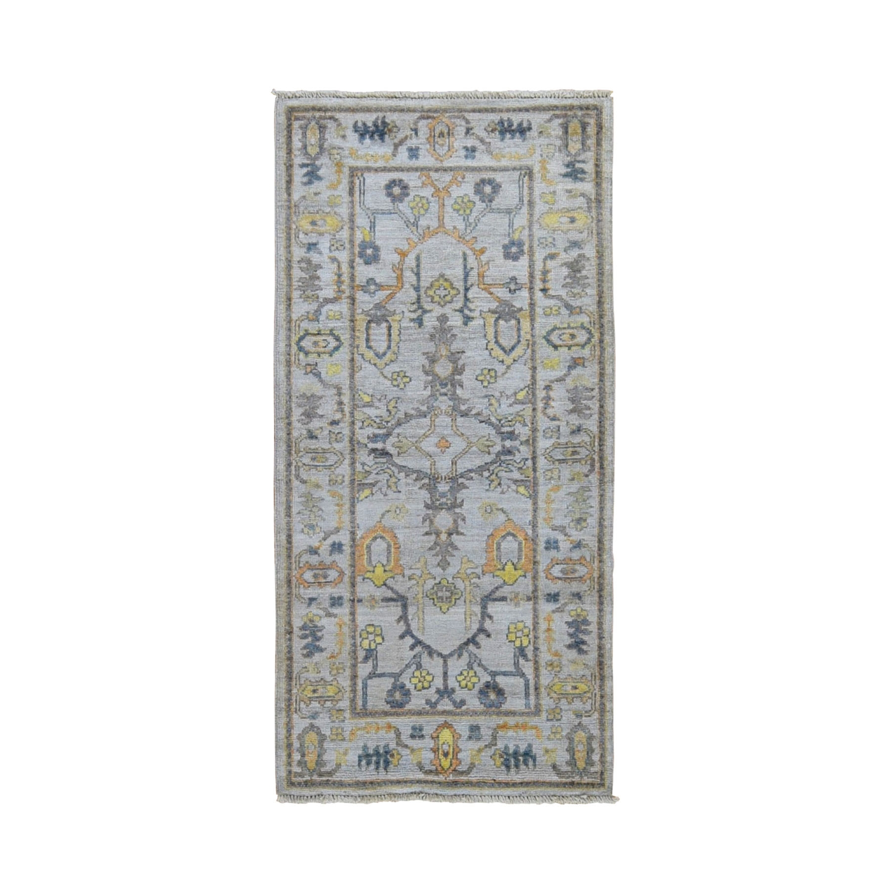 "2'10""x6'  Gray Angora Oushak With Soft Velvety Wool Hand Knotted Runner Oriental Rug"