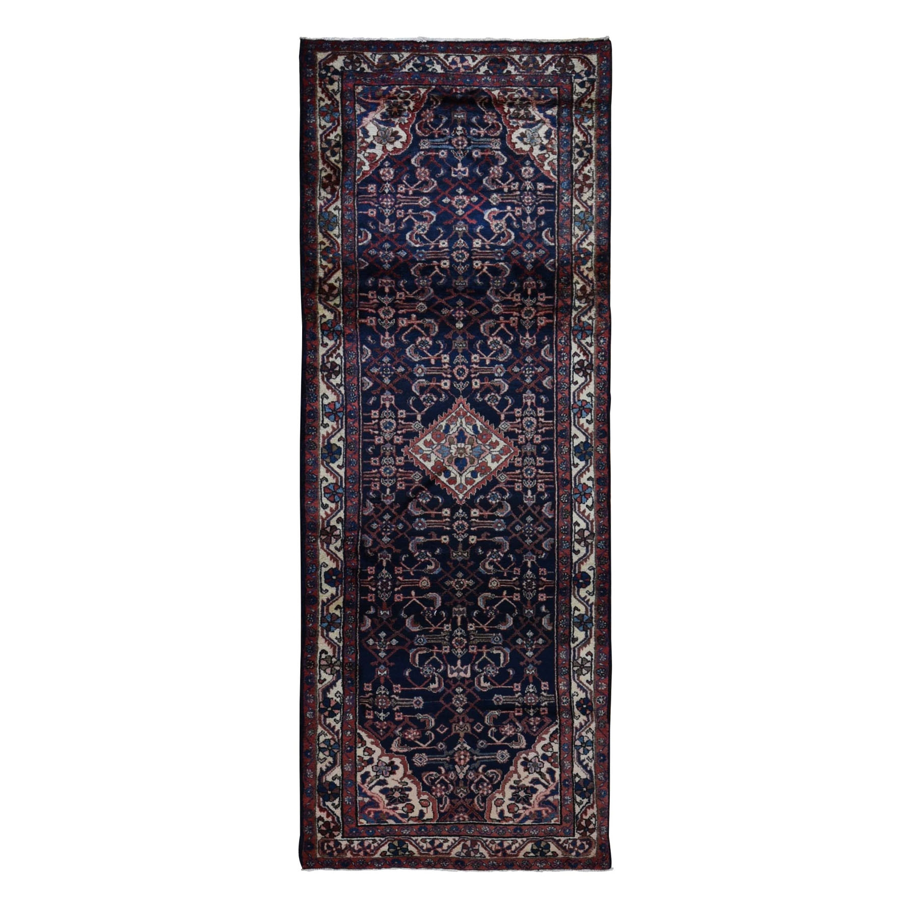 "3'8""x10'7"" Navy Blue New Persian Hamadan Pure Wool Hand Knotted Wide Runner Oriental Rug"
