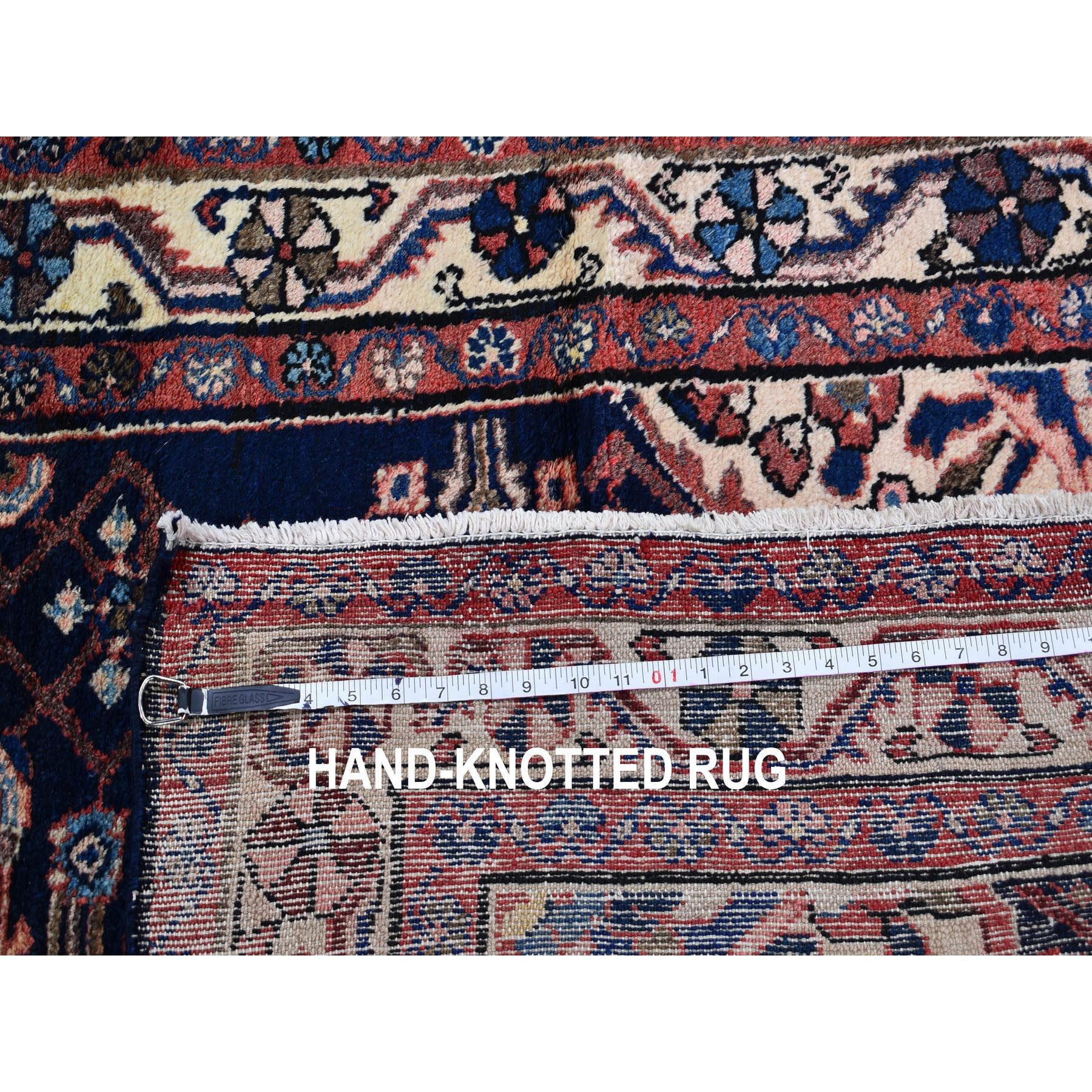3-8 x10-7  Navy Blue New Persian Hamadan Pure Wool Hand Knotted Wide Runner Oriental Rug
