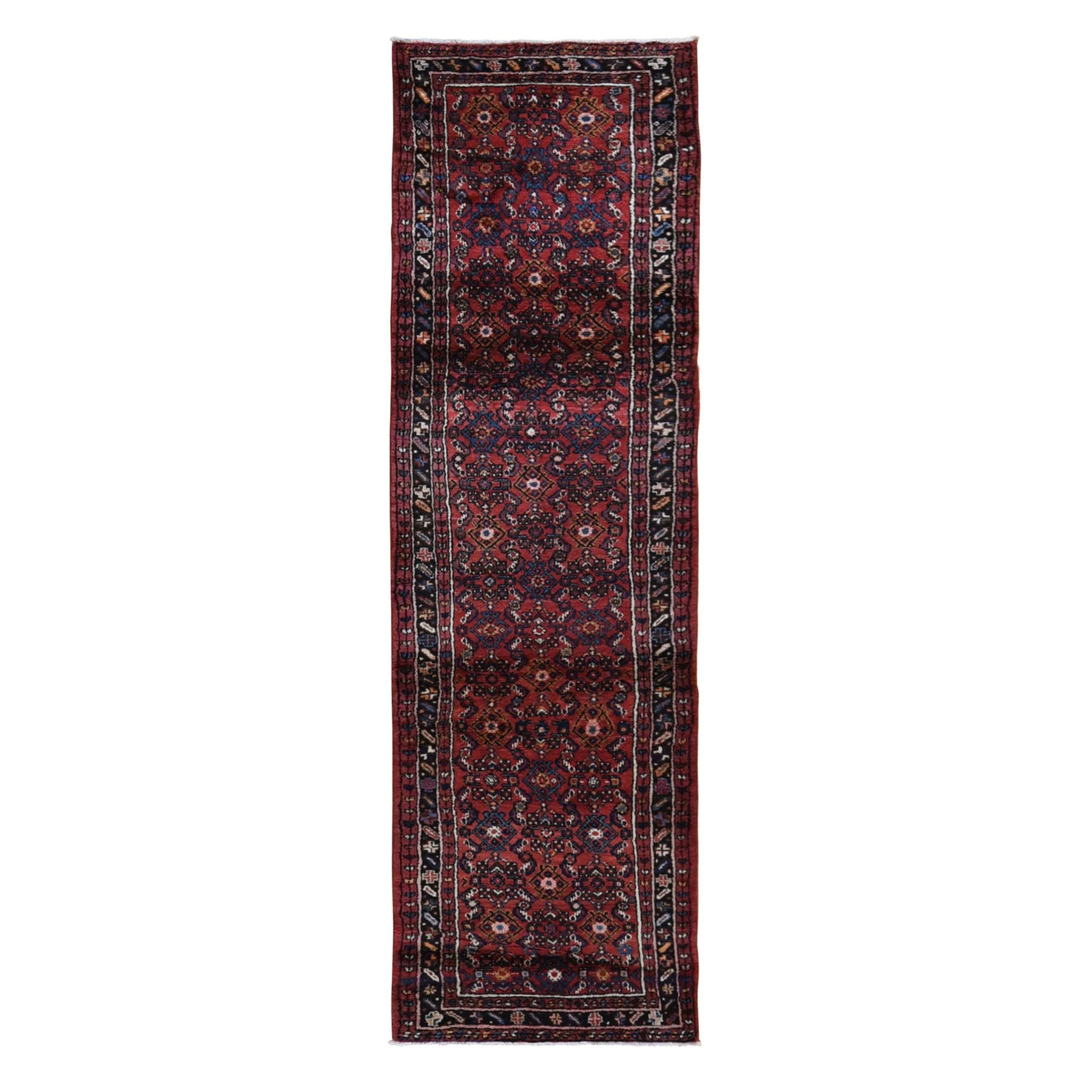 "2'8""x10' Red New Persian Hamadan Fish Design Wool Hand Knotted Narrow Runner Oriental Rug"