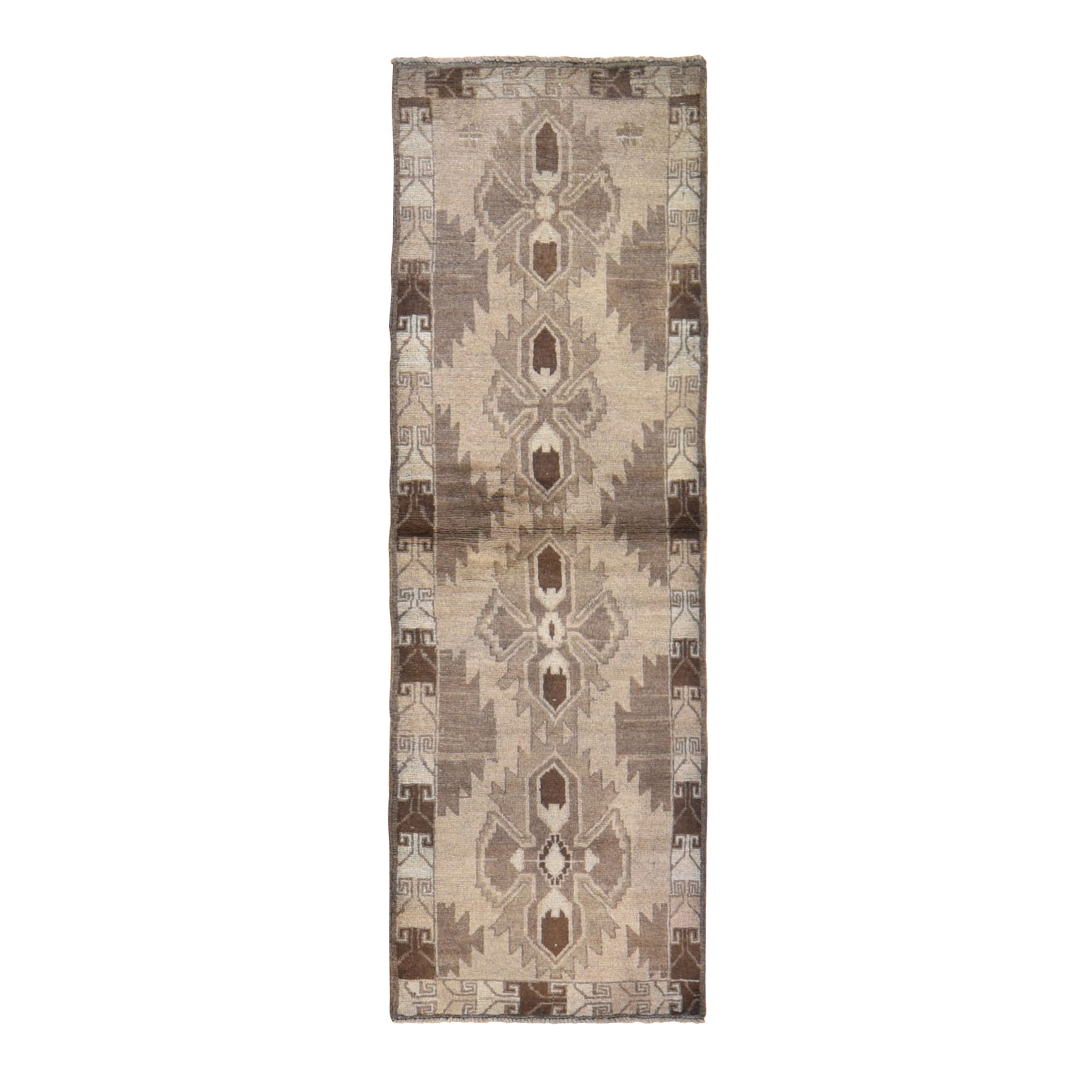 "2'5""x8' Washed Out Afghan Baluch With Natural Colors Pure Wool Runner Hand Knotted Oriental Rug"