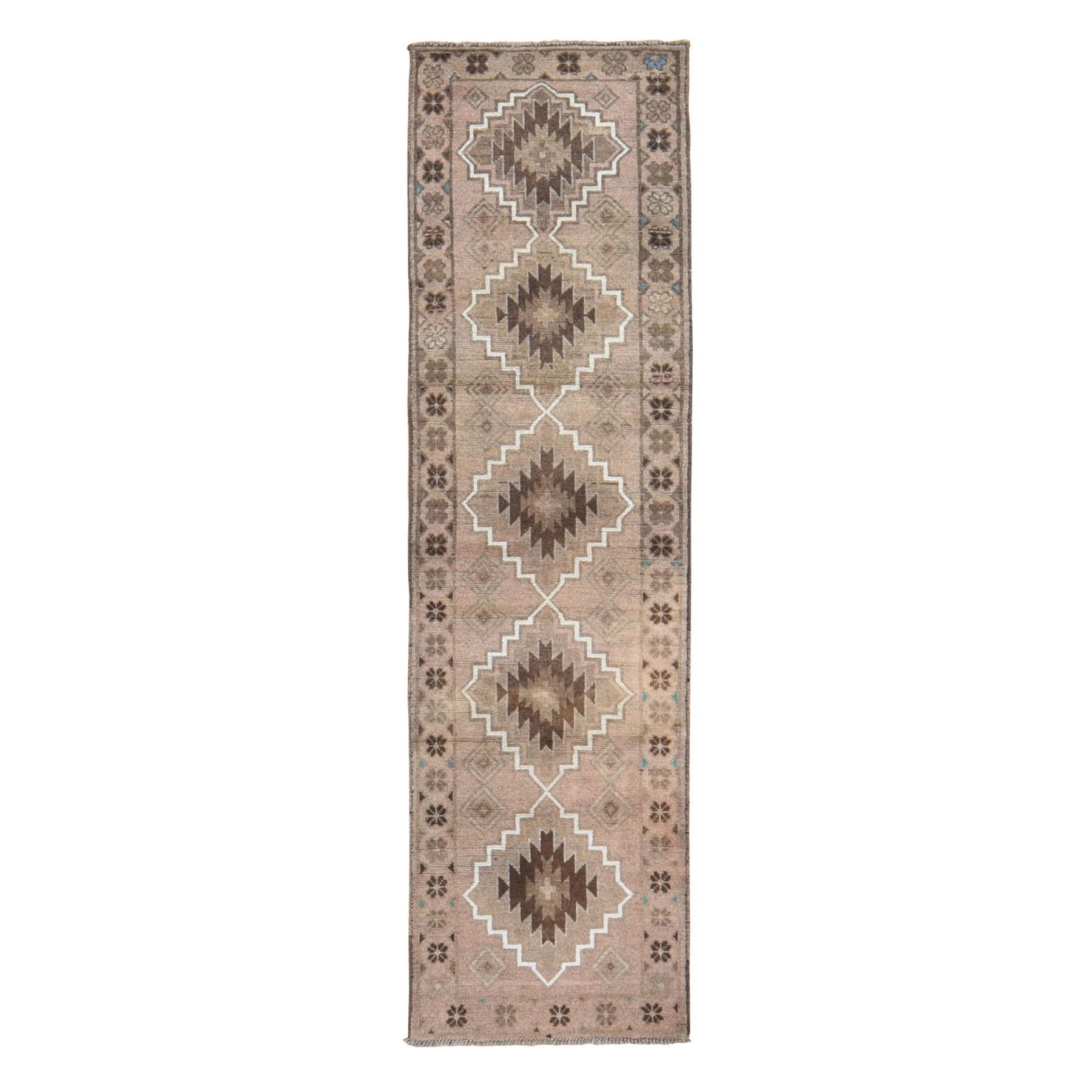"2'3""x8'3"" Washed Out Afghan Baluch With Natural Colors Pure Wool Runner Hand Knotted Oriental Rug"