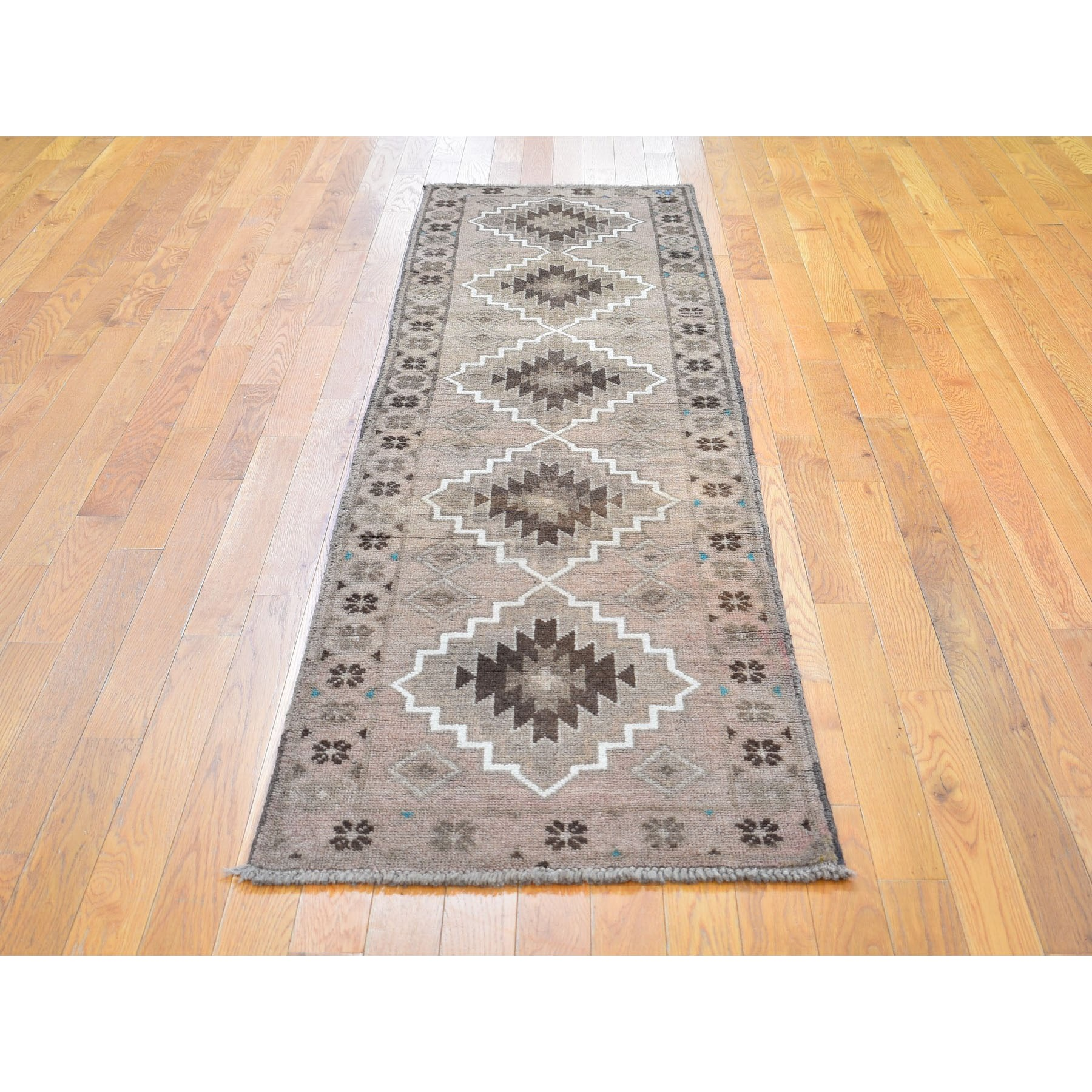 """2'3""""x8'3"""" Washed Out Afghan Baluch With Natural Colors Pure Wool Runner Hand Knotted Oriental Rug"""