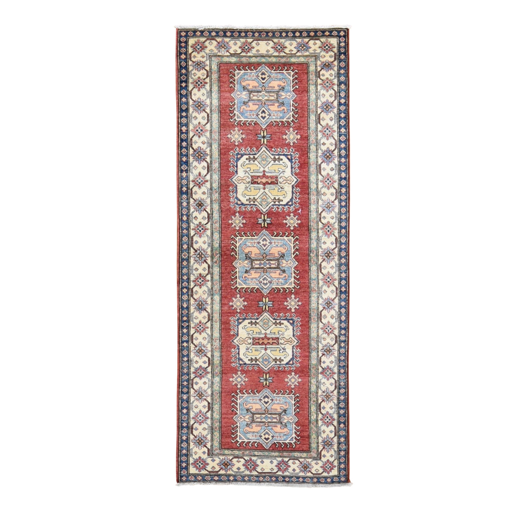 "2'9""x7'5"" Red Super Kazak Pure Wool Geometric Design Runner Hand Knotted Oriental Rug"
