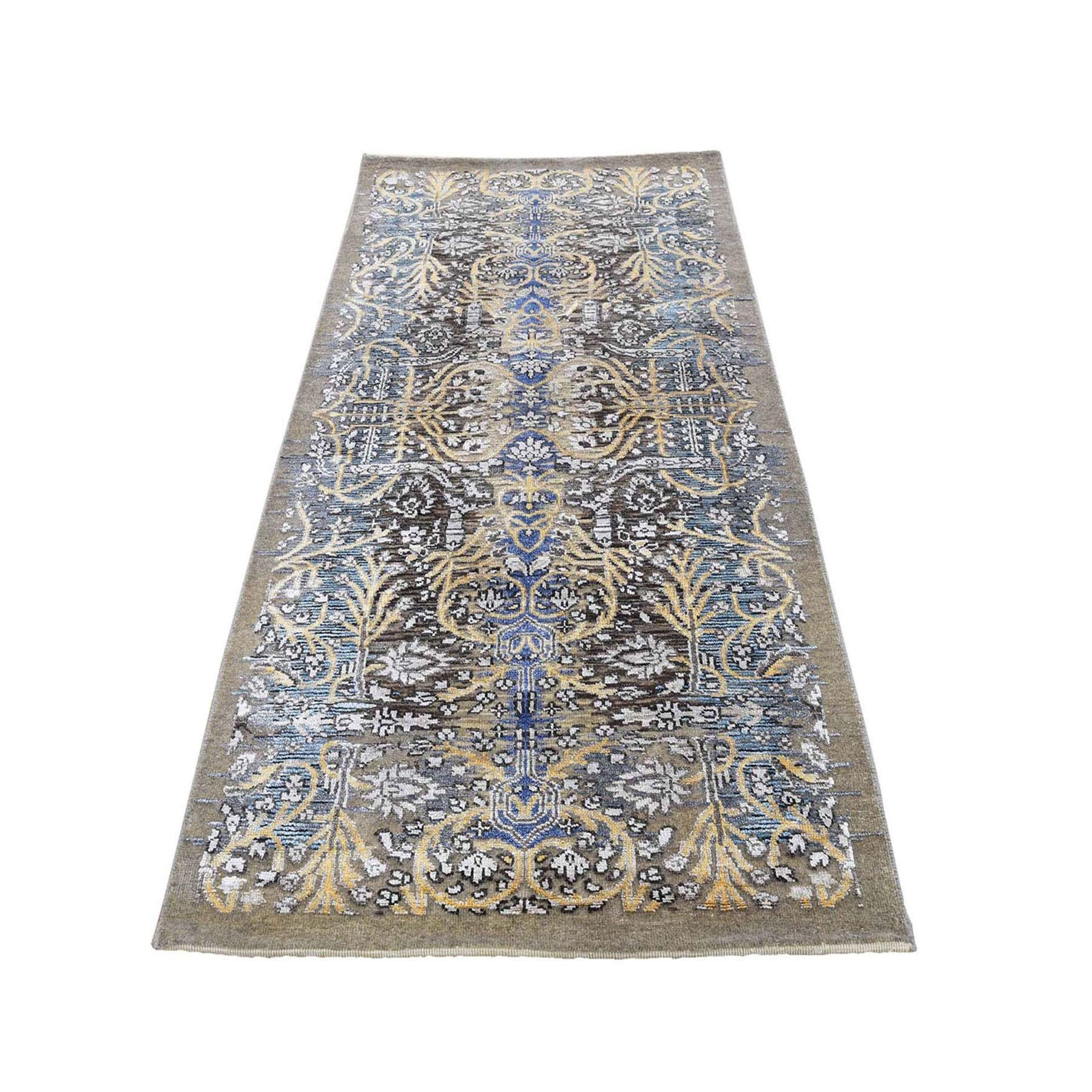 "2'7""x6' Hand Knotted Silk with Textured Wool Transitional Sarouk Runner Oriental Rug"
