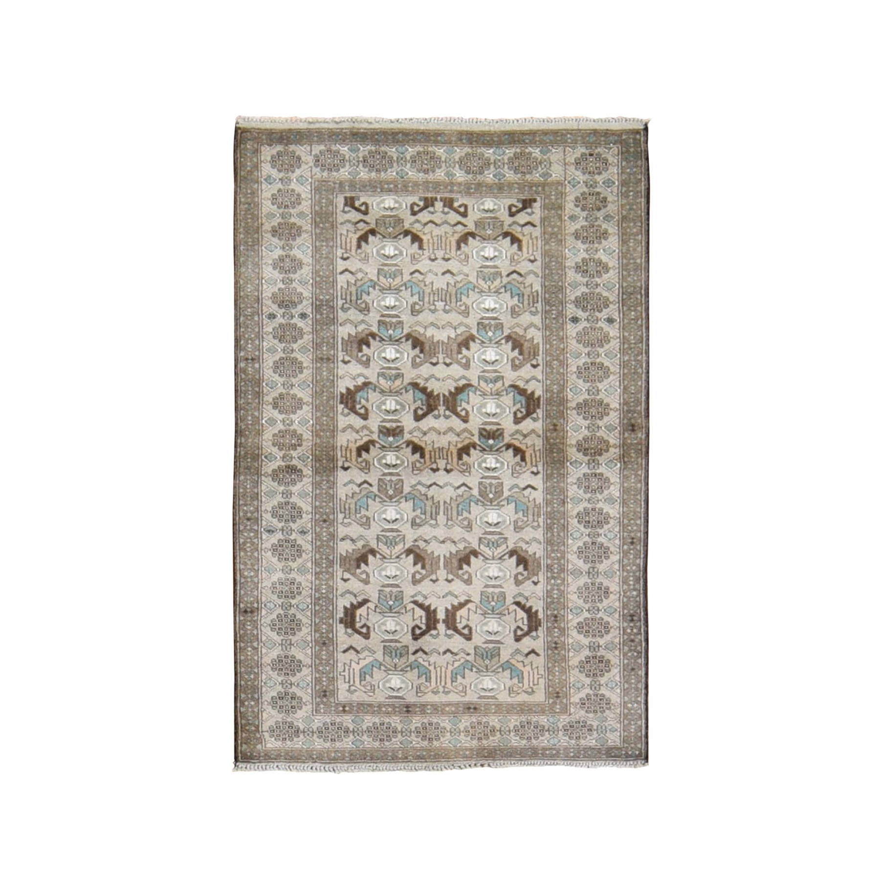 "2'9""x4'7"" Washed Out Afghan Baluch Pure Wool Hand Knotted Oriental Rug"