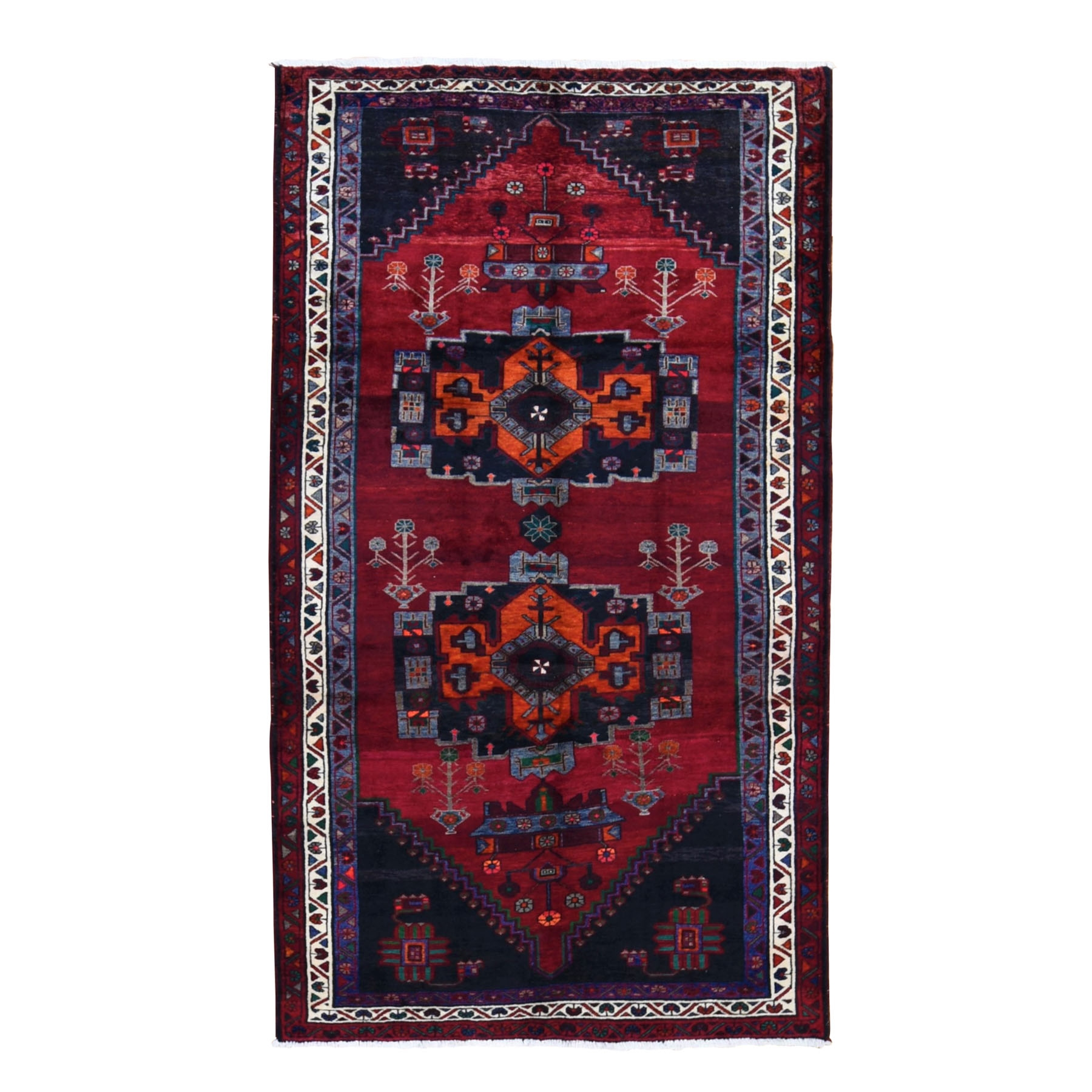 "5'5""x10' Gallery Size Red Vintage Persian Hamadan Pure wool Large Elements Hand Knotted Oriental Rug"