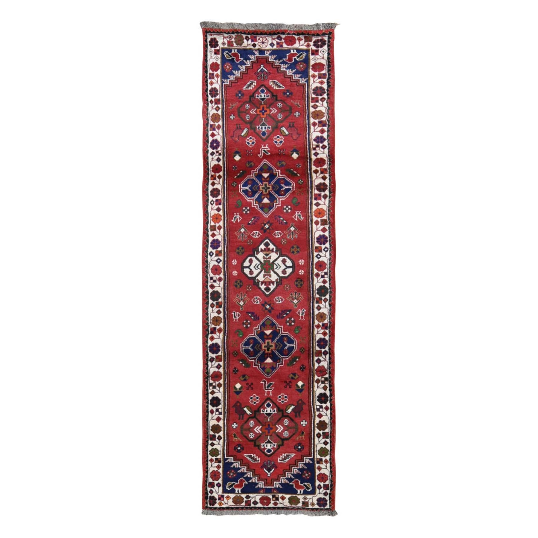 "2'5""x9'4"" Red New Persian Shiraz Pure Wool Runner Hand Knotted Oriental Rug"