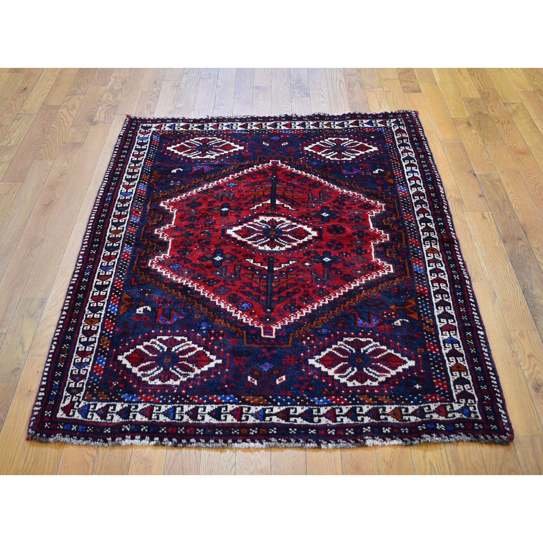 4-x5-7  Red New Persian Shiraz With Medallion Pure Wool Runner Hand Knotted Oriental Rug