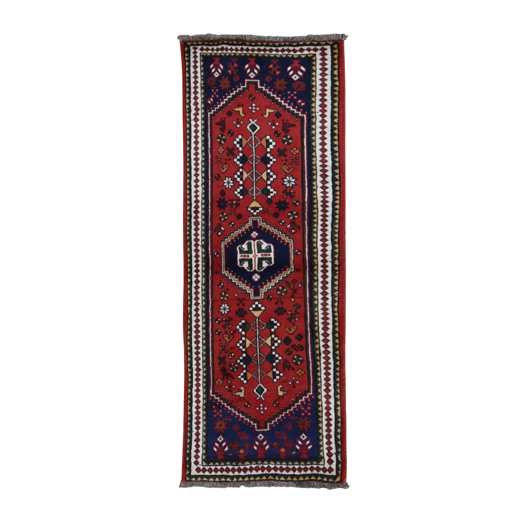 "2'3""x6'3"" Red New Persian Shiraz Pure Wool Runner Hand Knotted Oriental Rug"