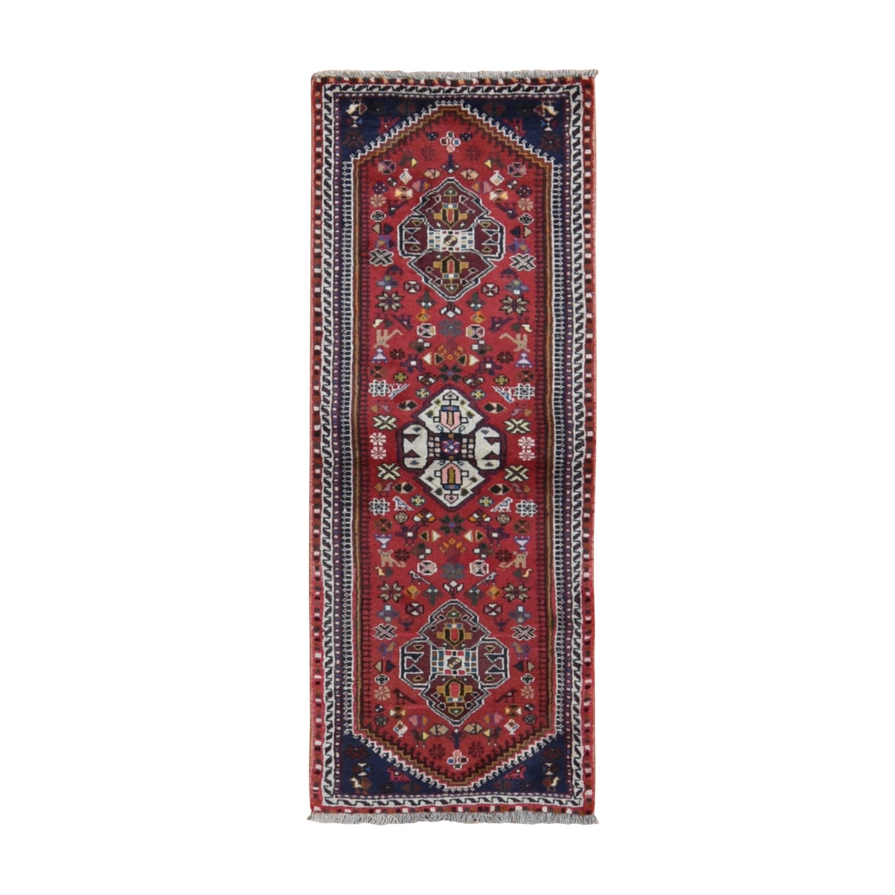 "2'3""x6'3"" Red New Persian Shiraz With Birds Pure Wool Runner Hand Knotted Oriental Rug"